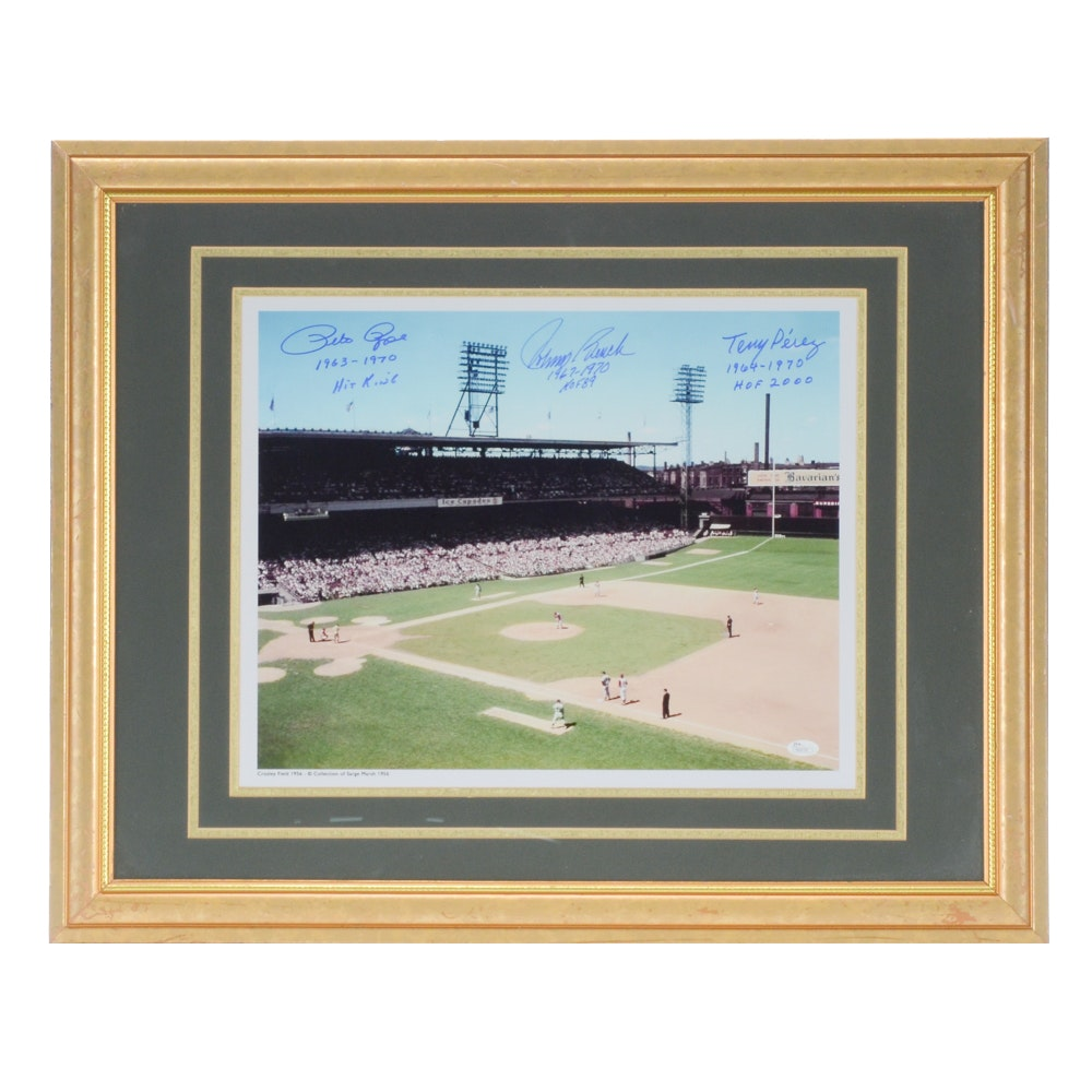Bench, Rose and Perez Autographed Crosley Field Print  COA