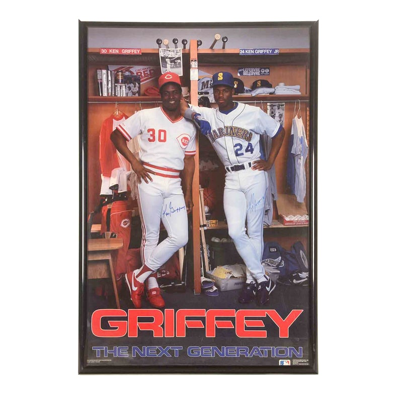 Ken Griffey Jr. and Griffey Sr. Autographed Poster   COA