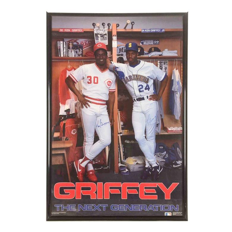 Ken Griffey Jr. and Griffey Sr. Autographed Poster   COA