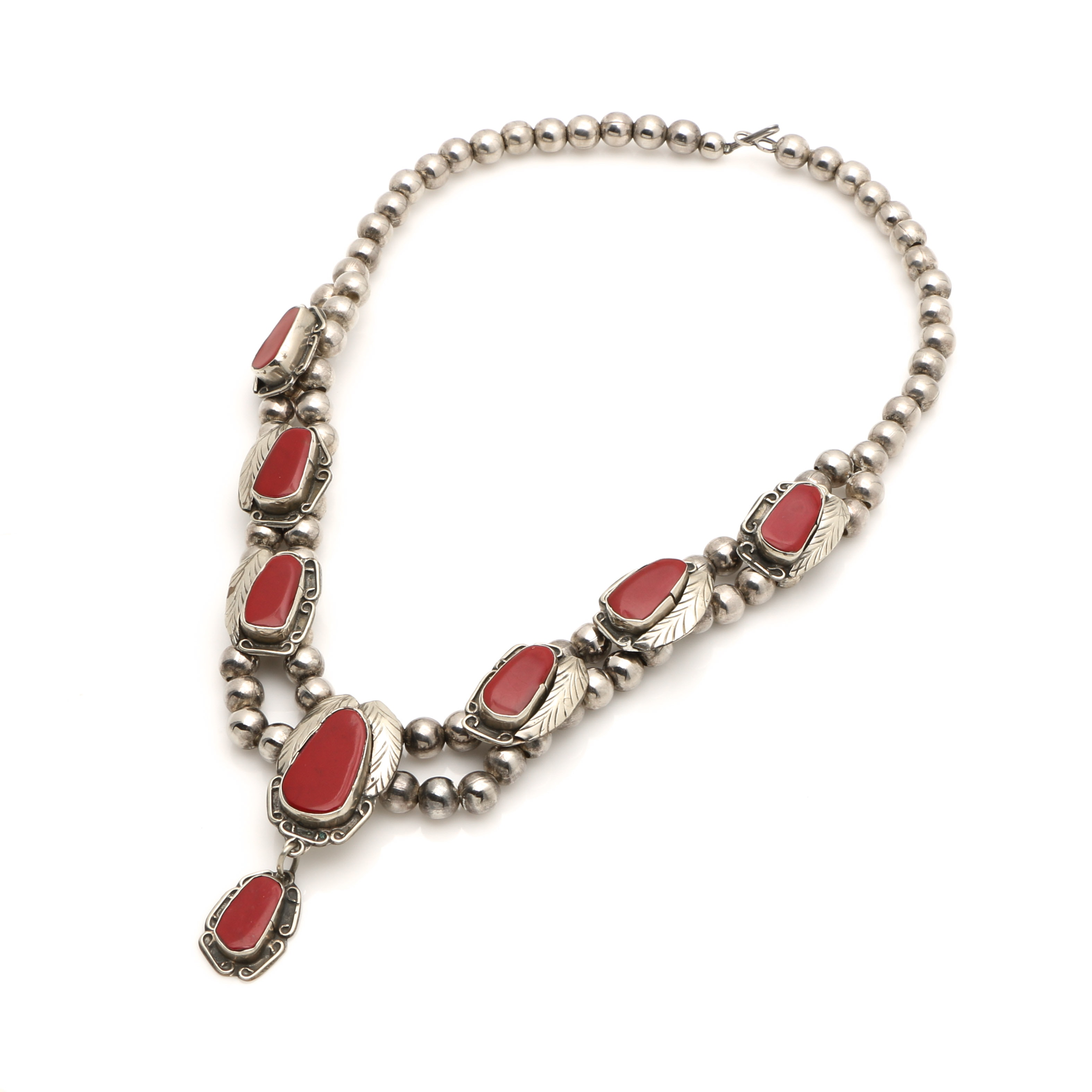 Silver Tone Red Jasper Southwestern Style Necklace
