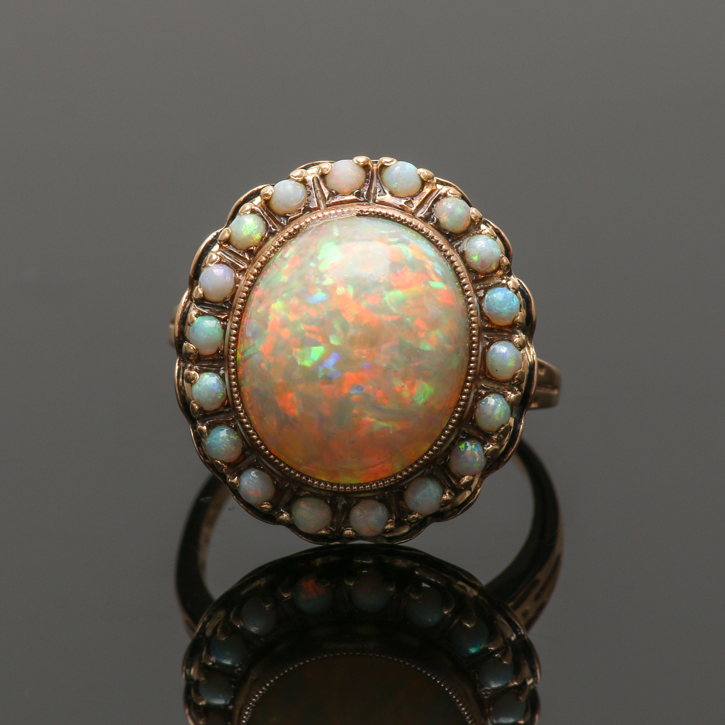 Arts and Crafts 14K Yellow Gold Opal Ring