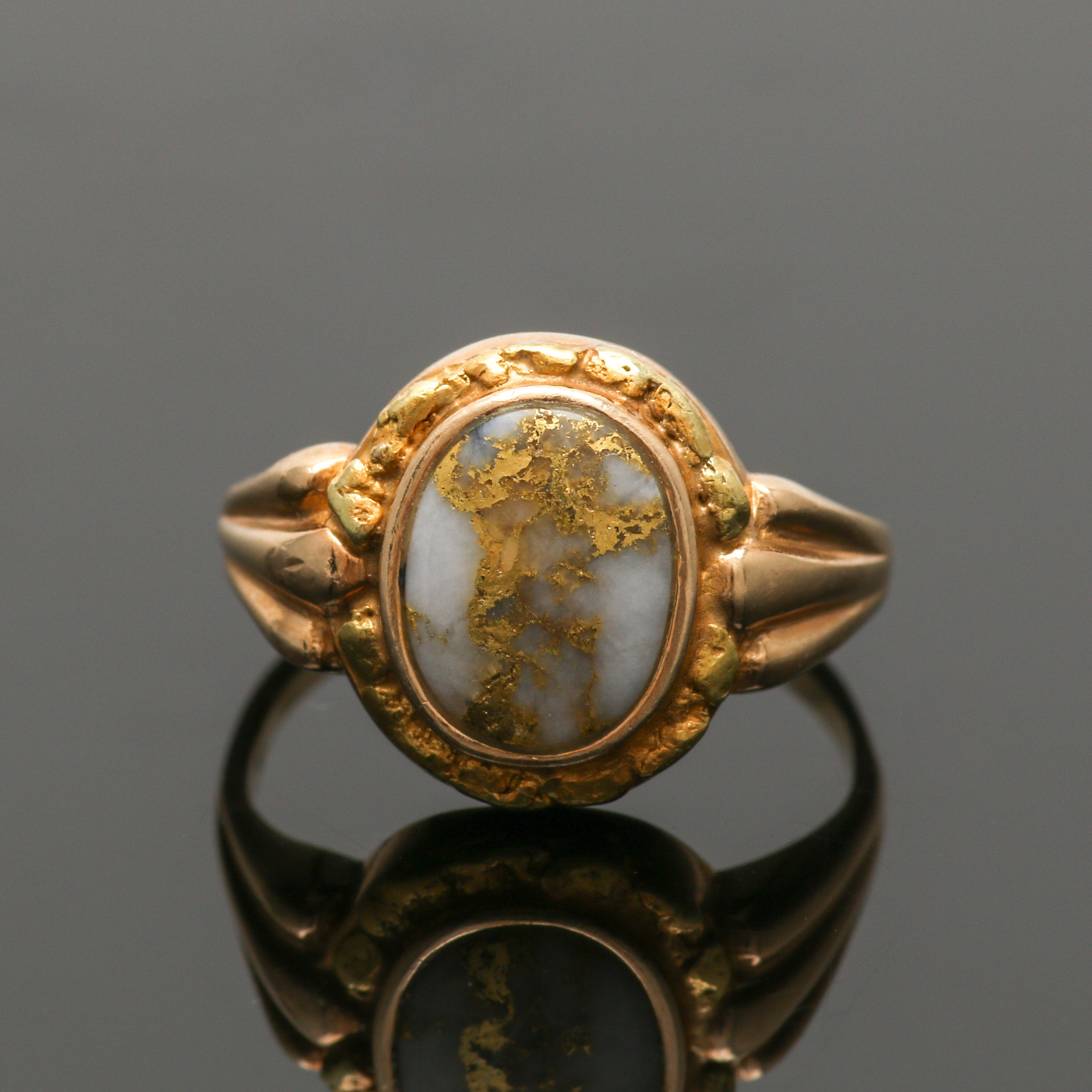 14K Yellow Gold Native Gold in Agate Ring