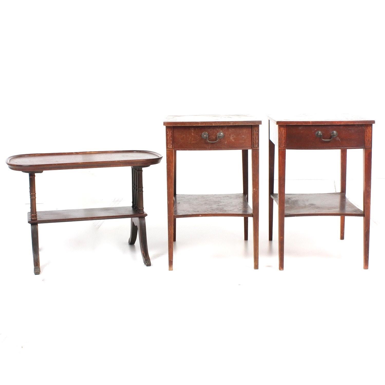 Three Vintage Mahogany Tables Featuring Mersman