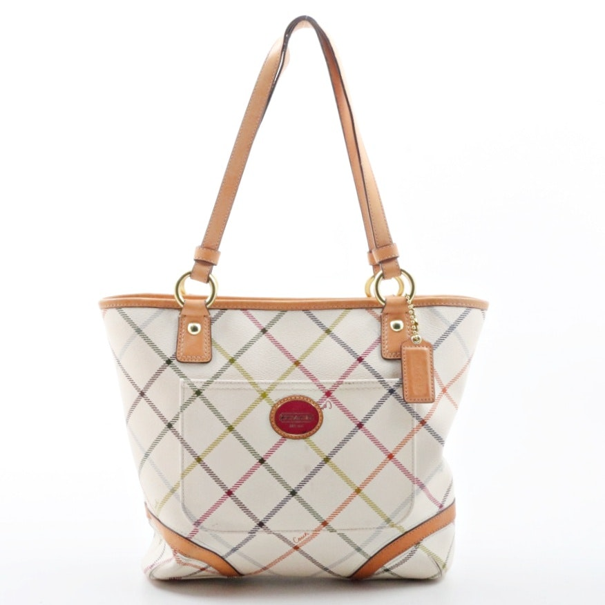 Coach Peyton Tattersall White Multicolor Tote Shoulder Bag