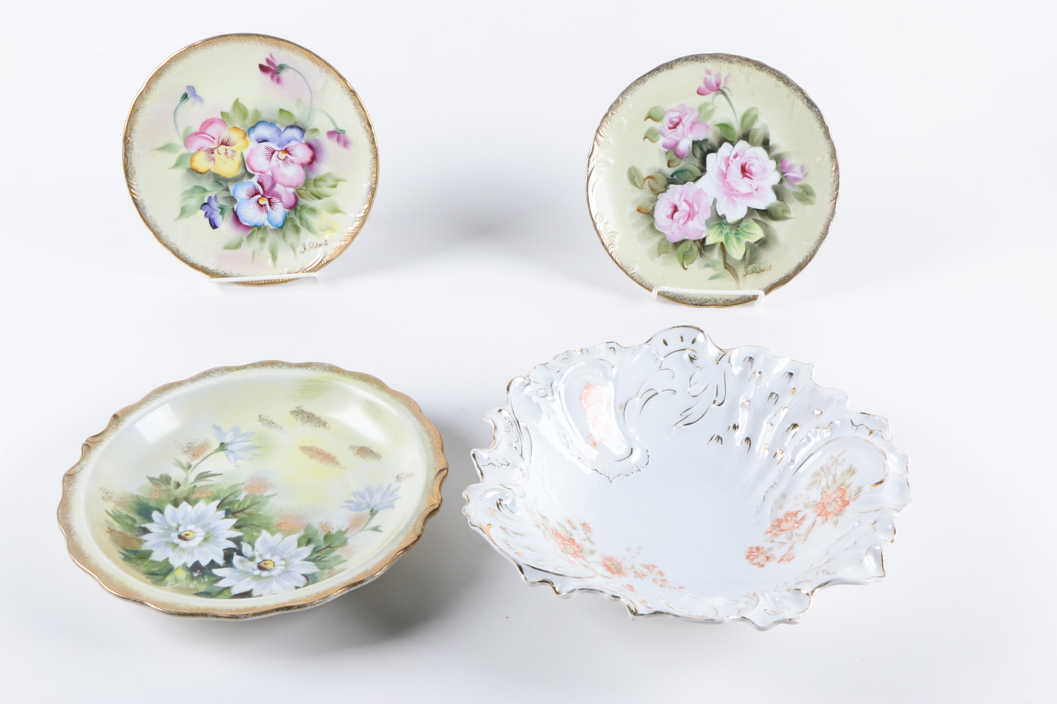 Antique Carl Tielsch Bowl and Other Hand Painted Plates