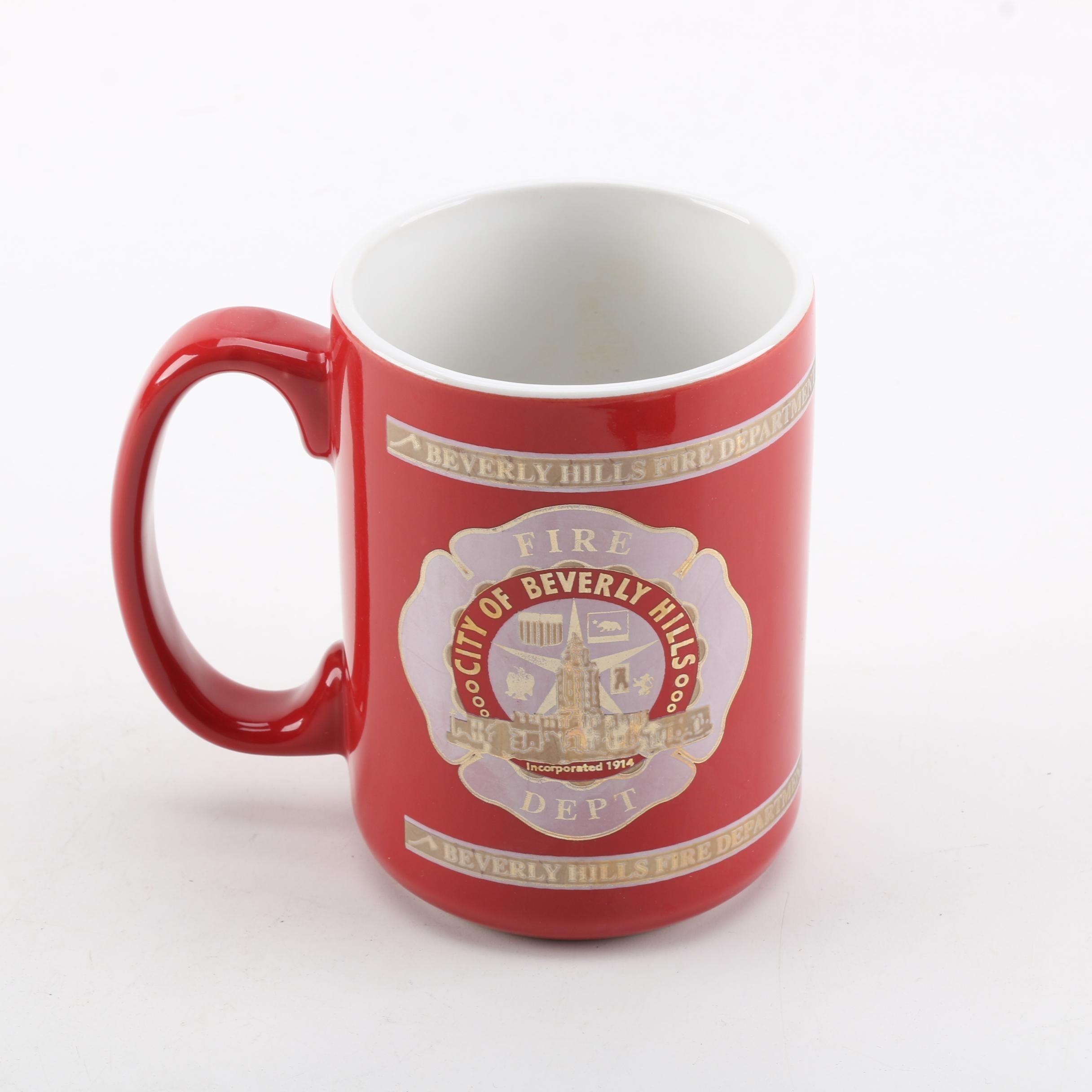 Beverley Hills Fire Department Red Ceramic Mug