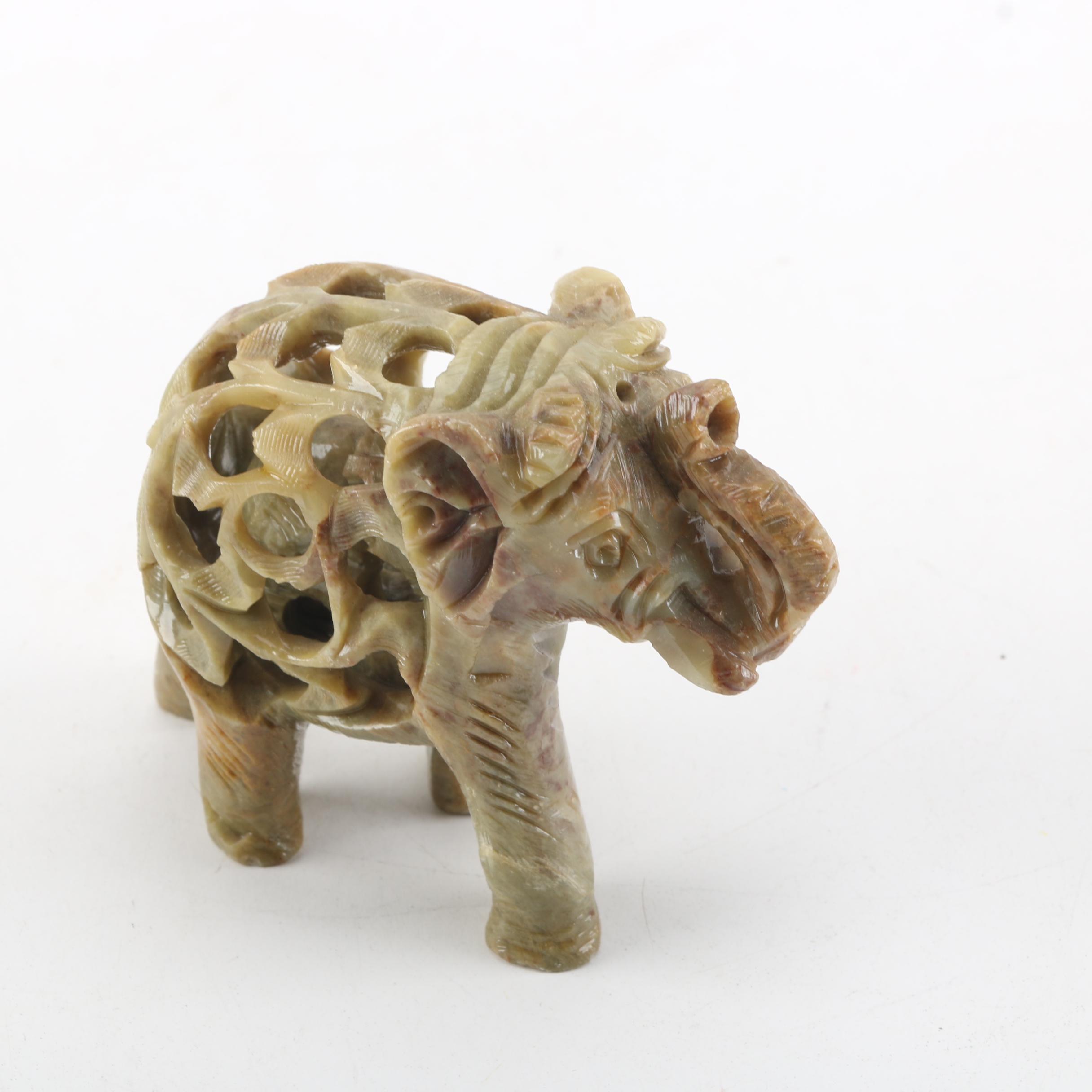 Carved Soapstone Elephant Figurine