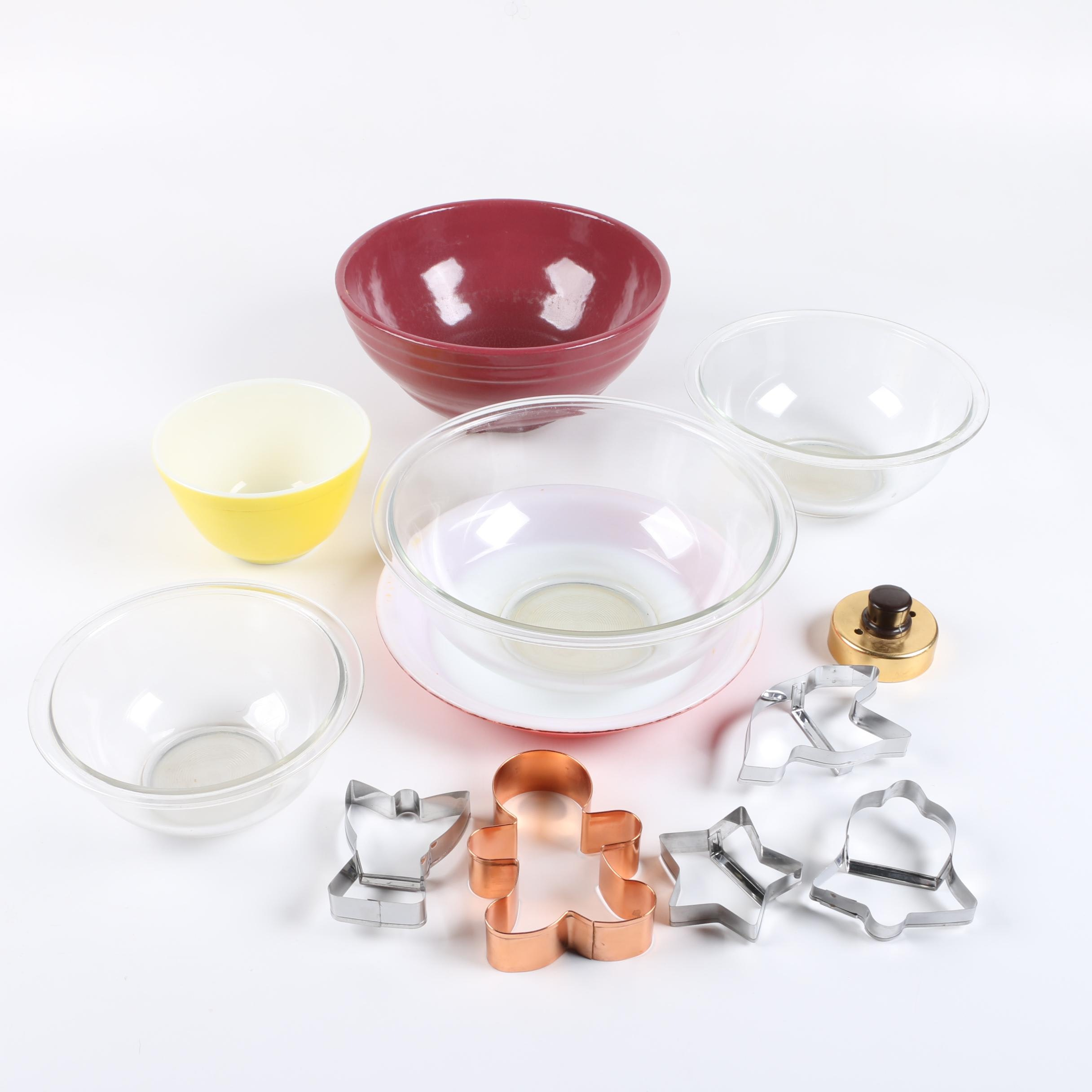 Pyrex Mixing Bowls and Cookie Cutters