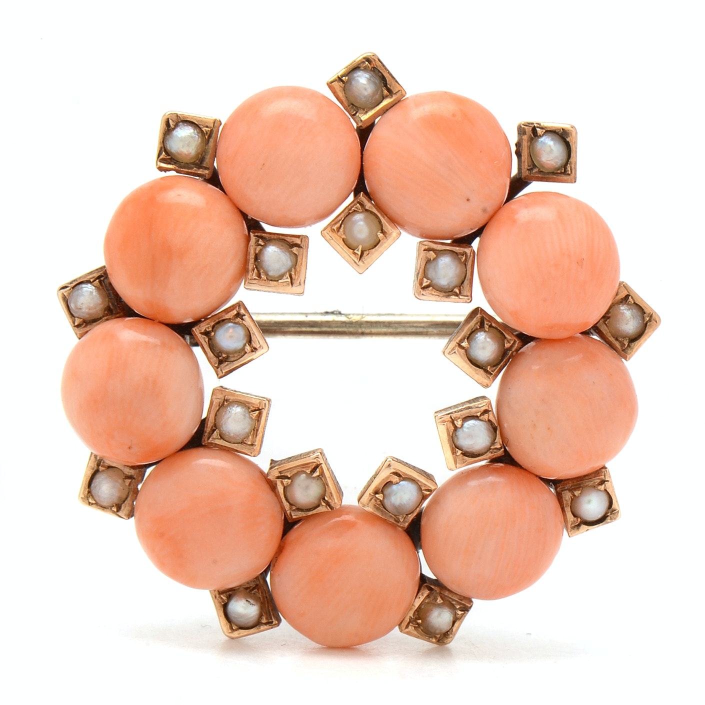 Antique 14K Yellow Gold Coral and Seed Pearl Wreath Brooch