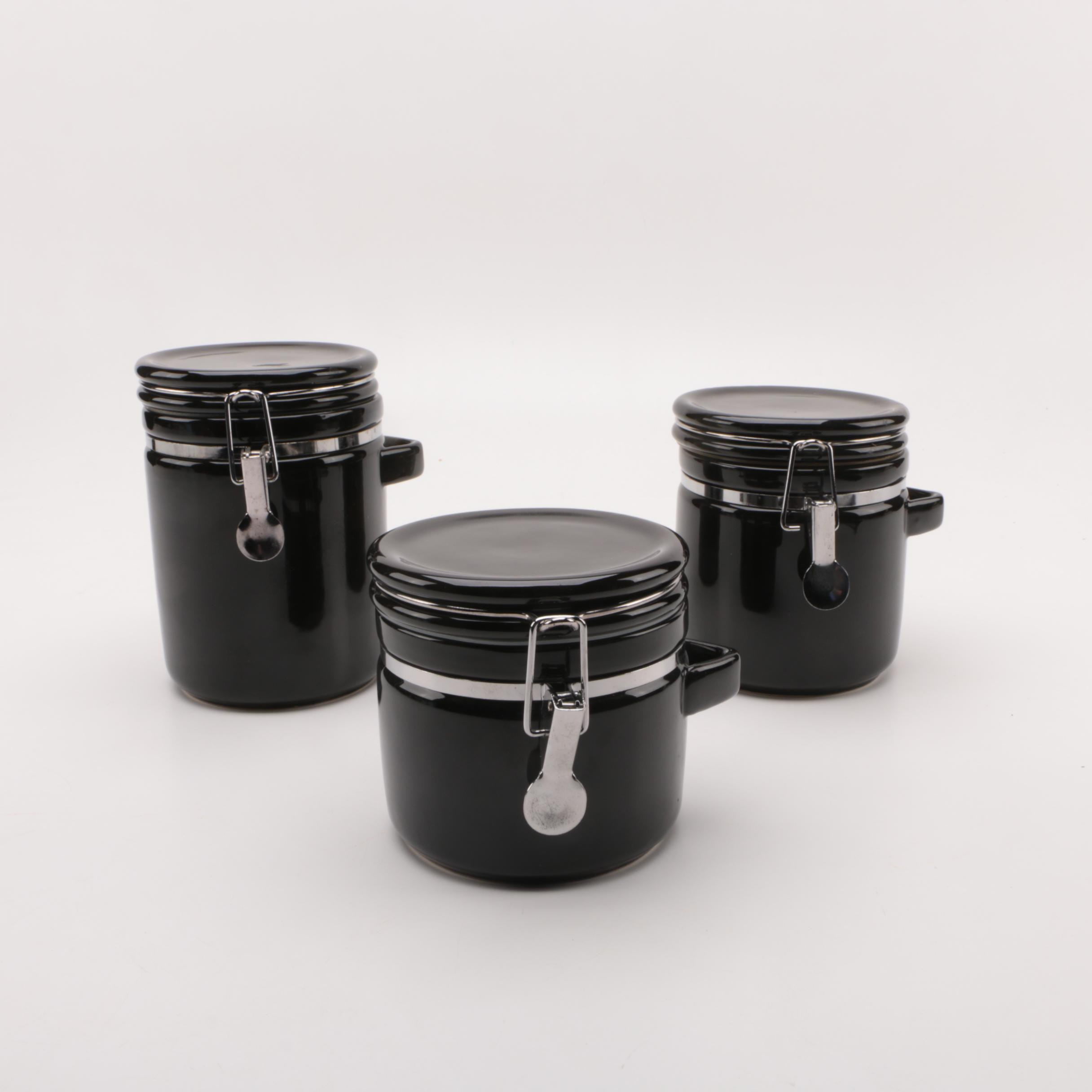 Three Ceramic Kitchen Canisters