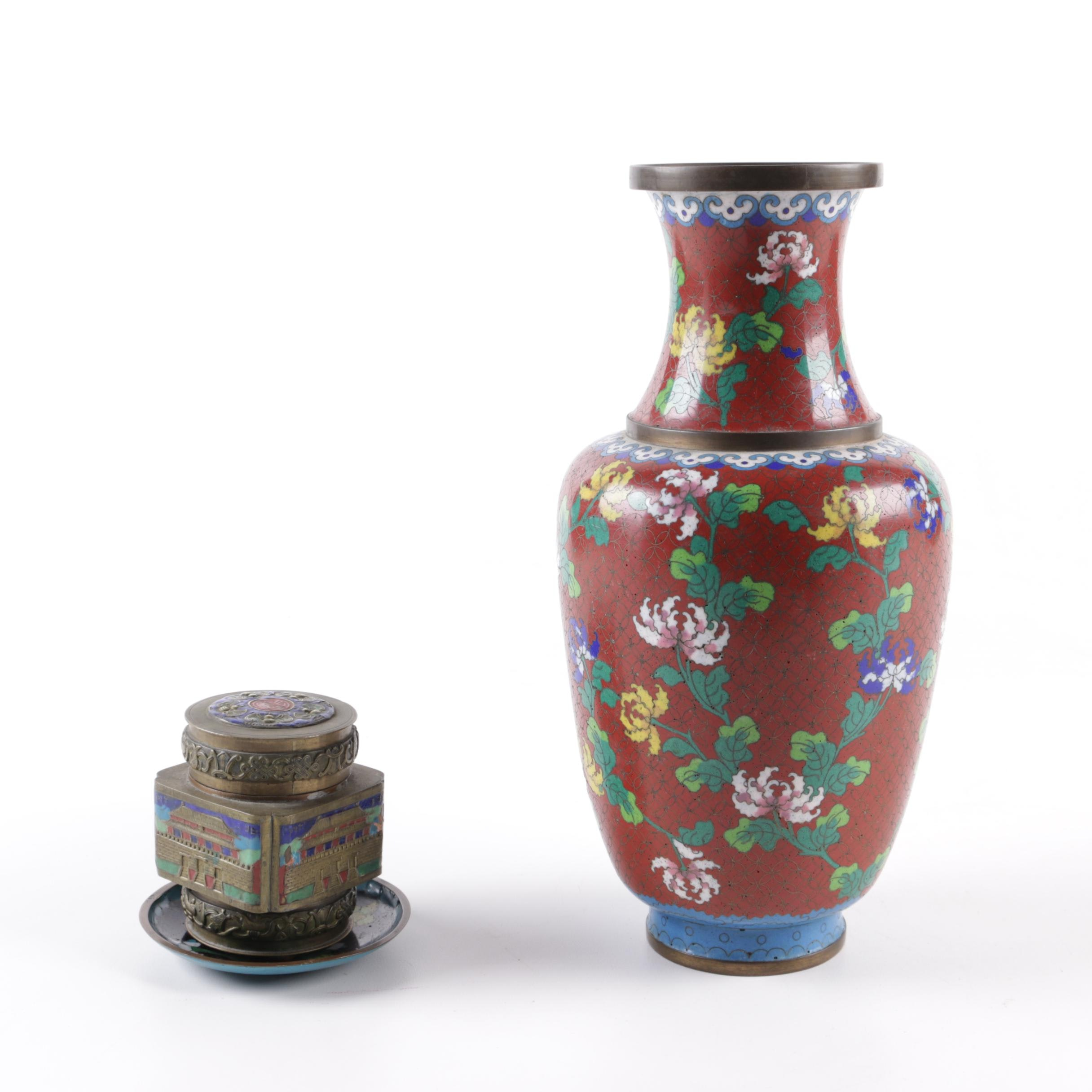 Chinese Enameled Tea Caddy and Cloisonné Vase and Trinket Dish