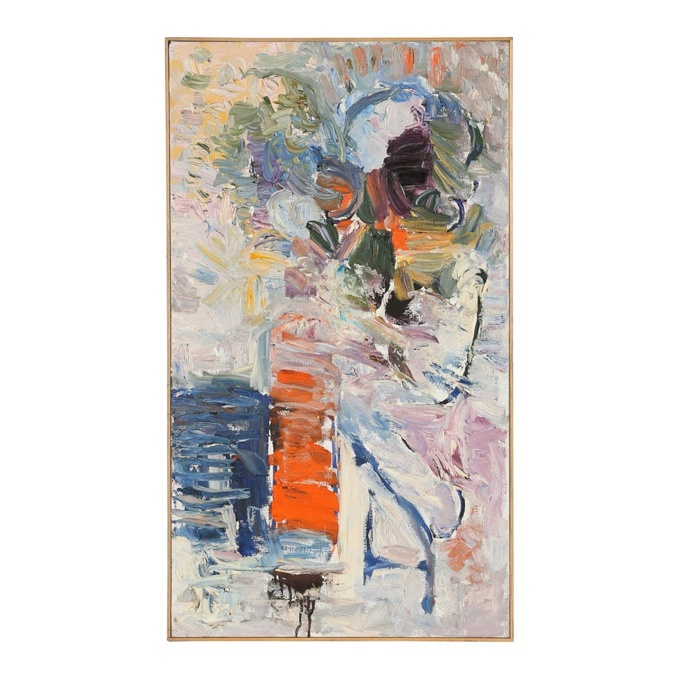 Louis Papp Oil Painting on Canvas Abstract Composition