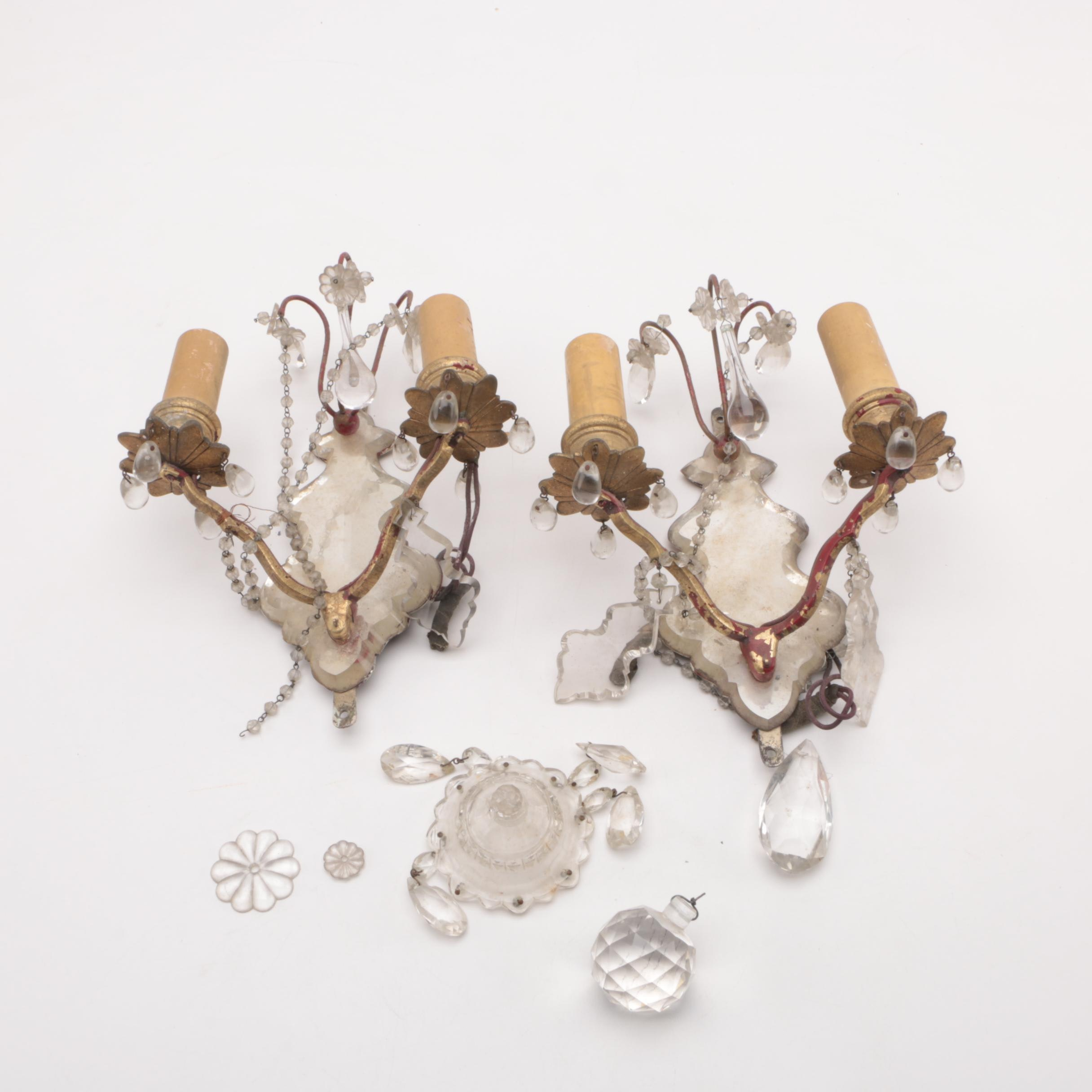 Wall Sconces with Glass and Crystal Details