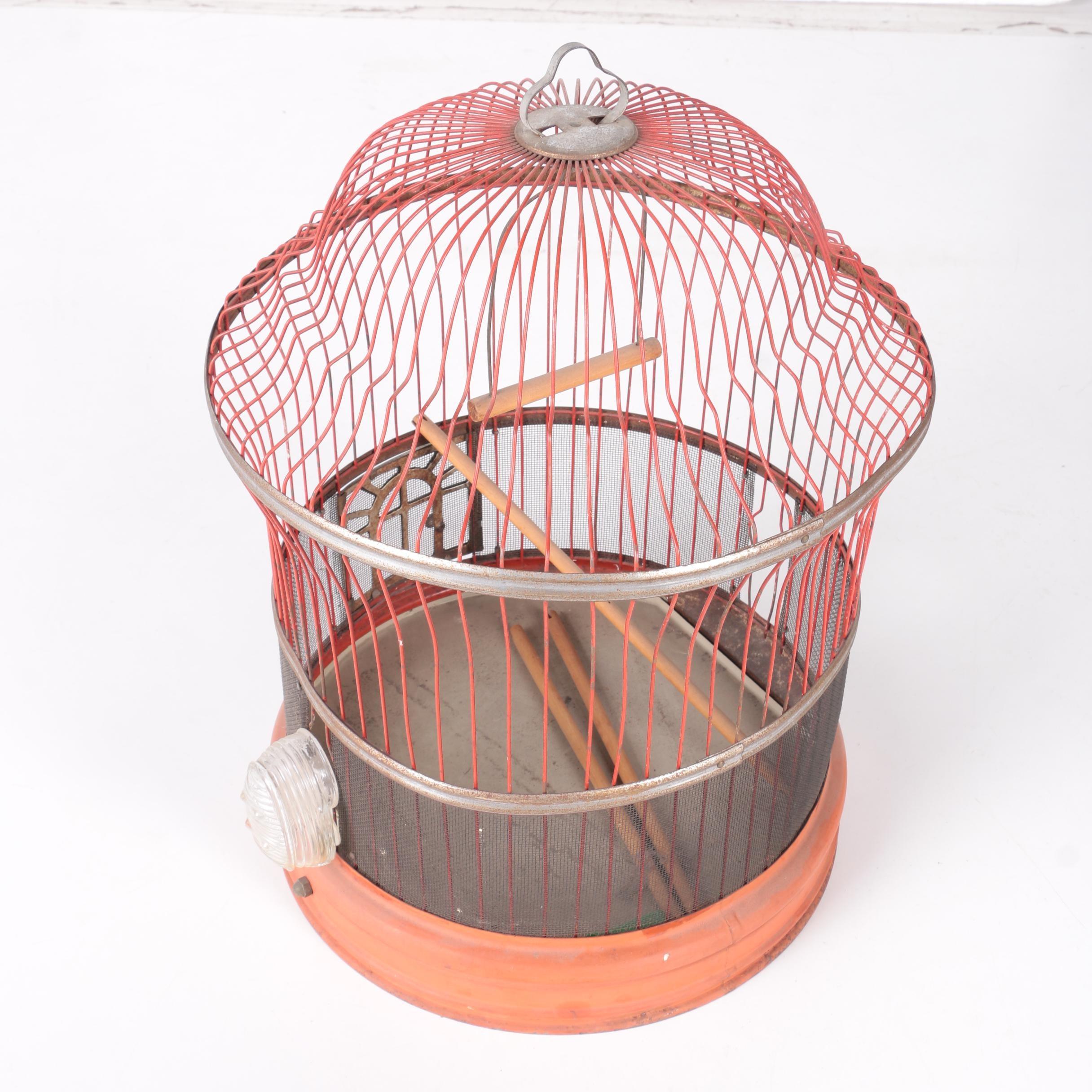 Vintage Red Metal Bird Cage
