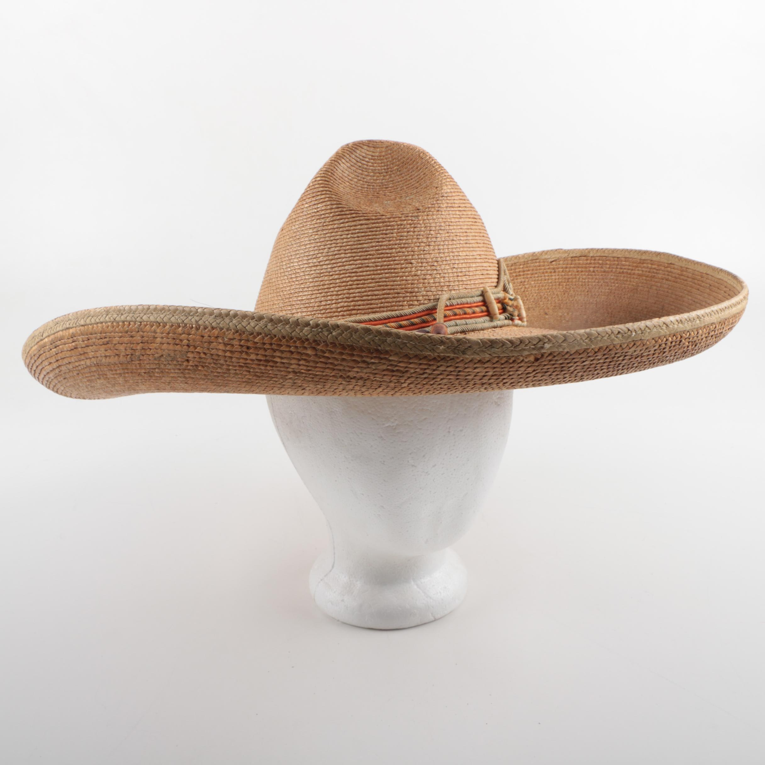 Sombrero Style Hat with Corded Hatband