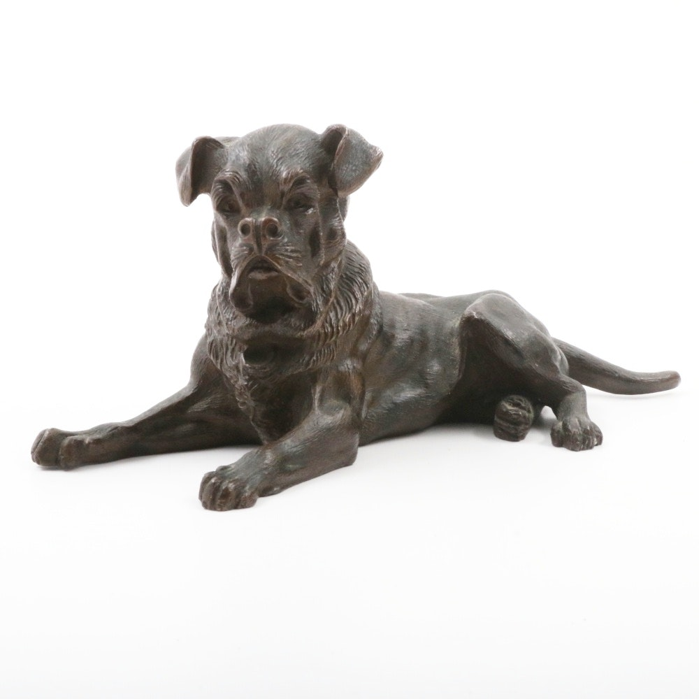 German Bronze Dog Figurine