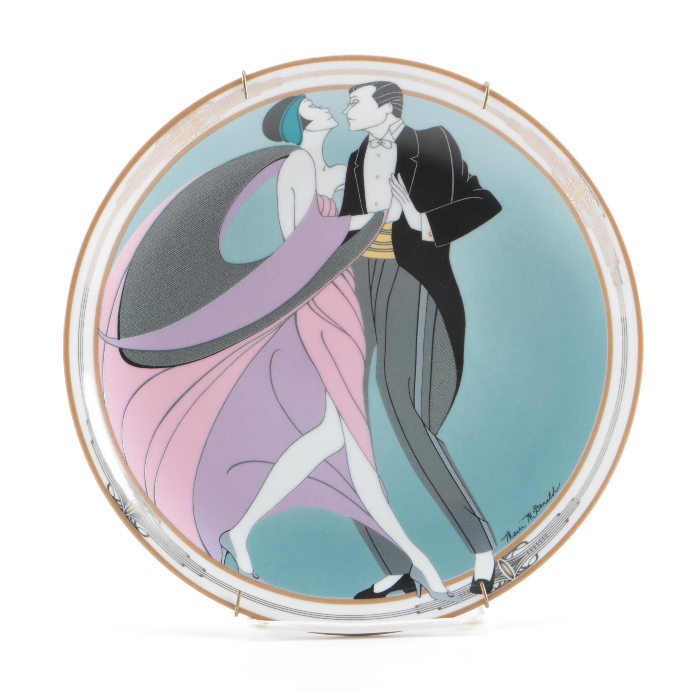 "Marci McDonald Art Deco Plate ""The Tango Dancers"""