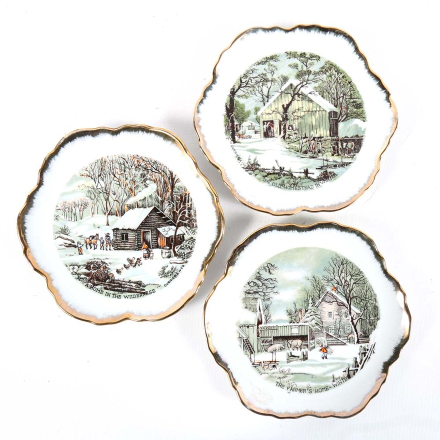 Vintage Currier And Ives Decorative Winter Plates