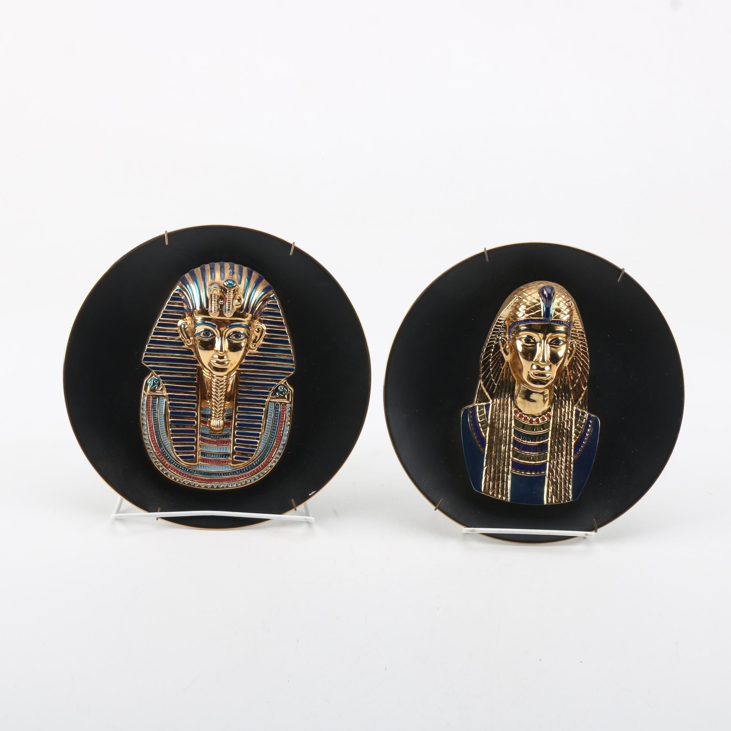 "Osiris Porcelain ""Tutankhamun"" and ""Cleopatra"" Decorative Plates"