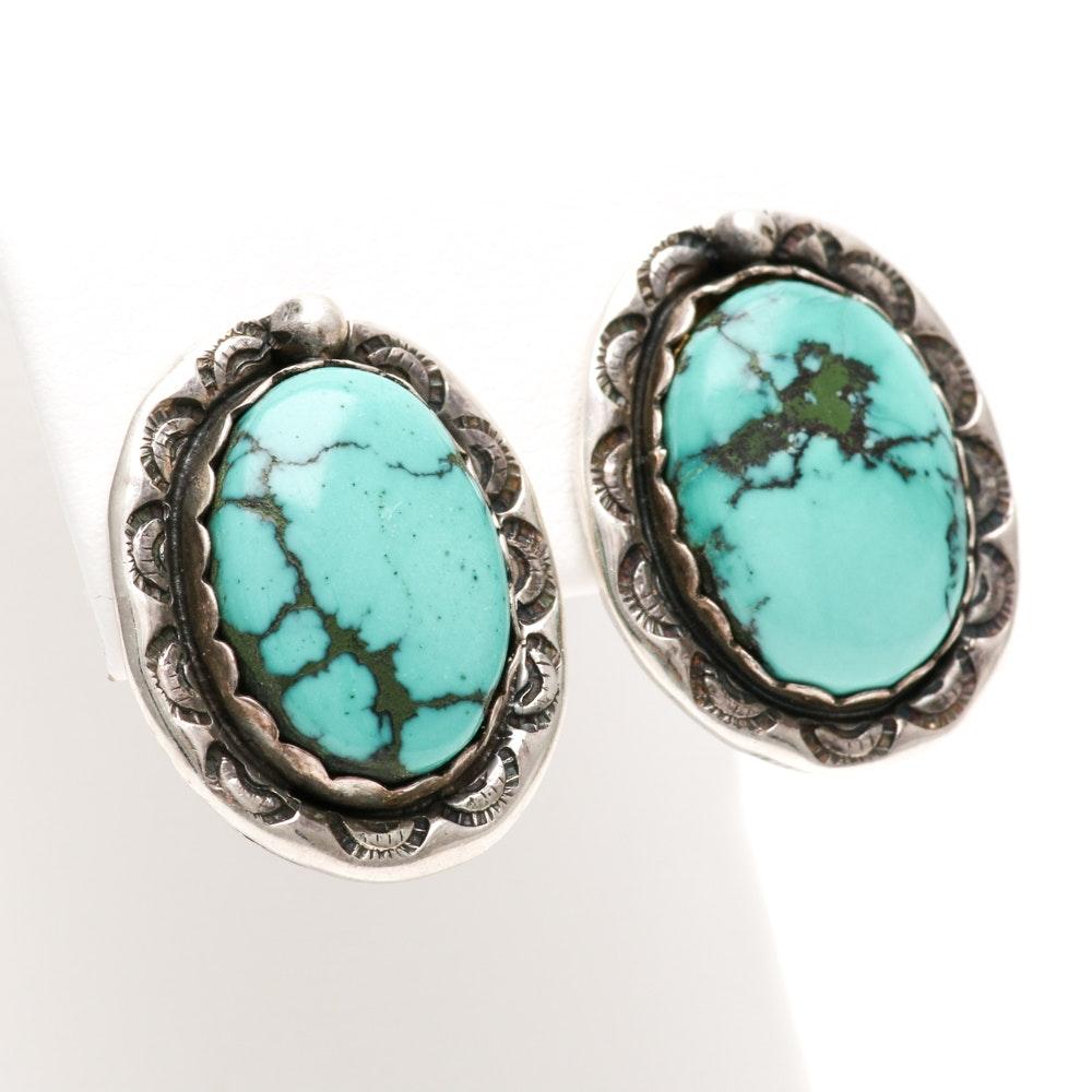 Ella Cowboy Navajo Sterling Silver Turquoise Earrings