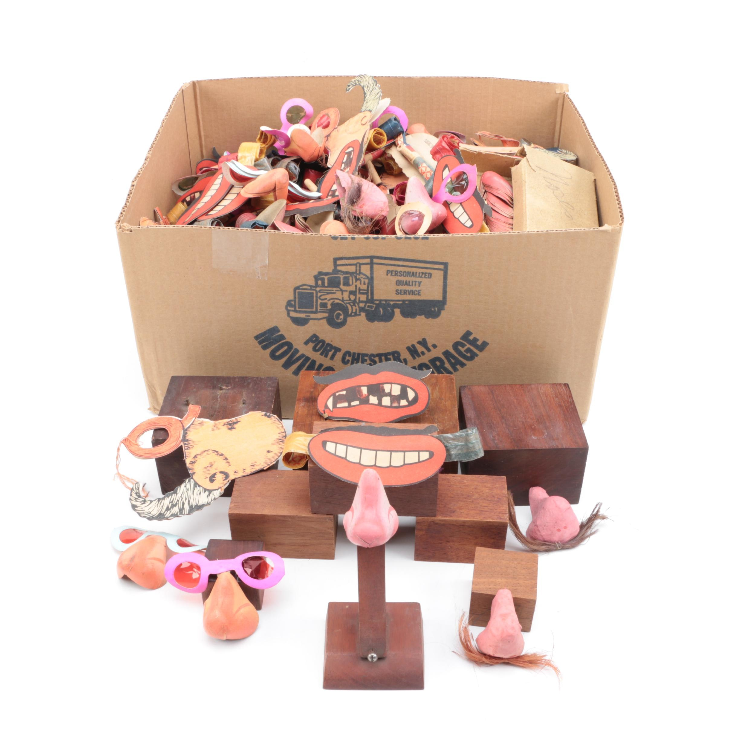 Paper Face Disguises and Party Favors with Wooden Stands
