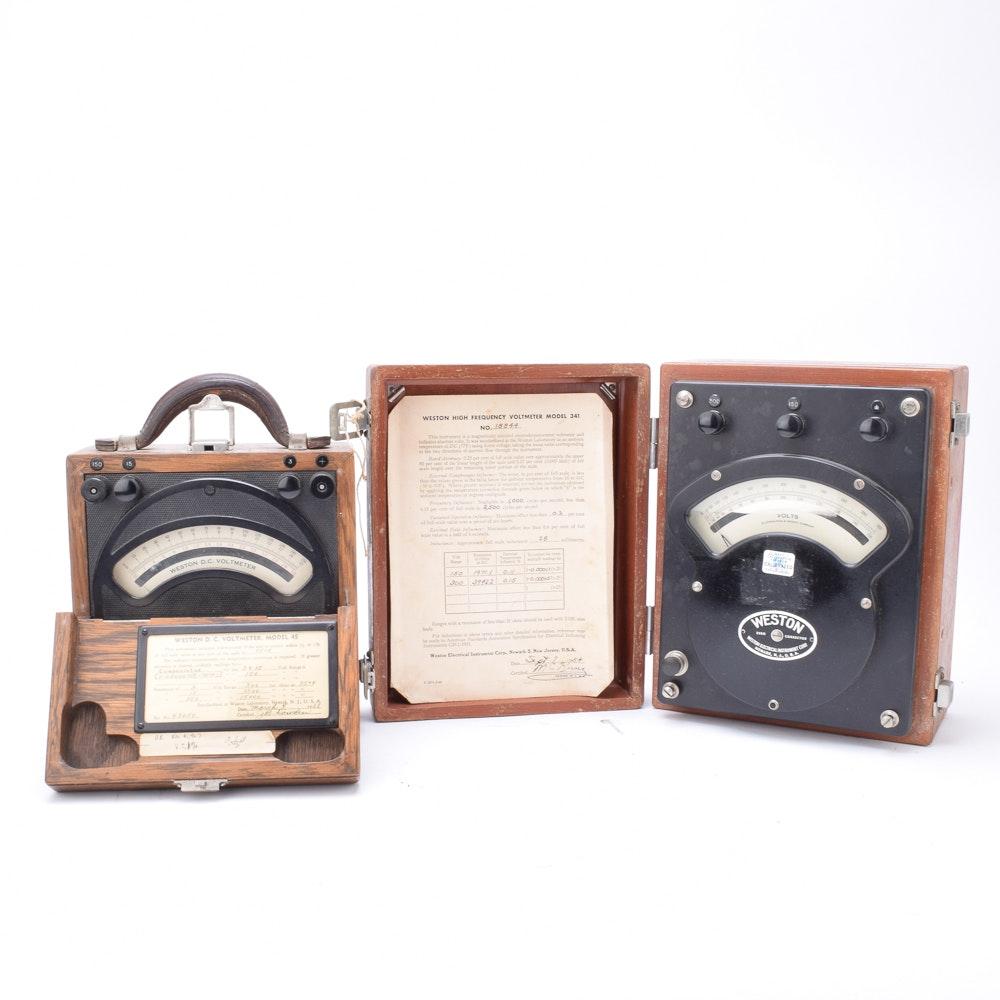 Vintage Weston Model 45 and 341 Voltmeters
