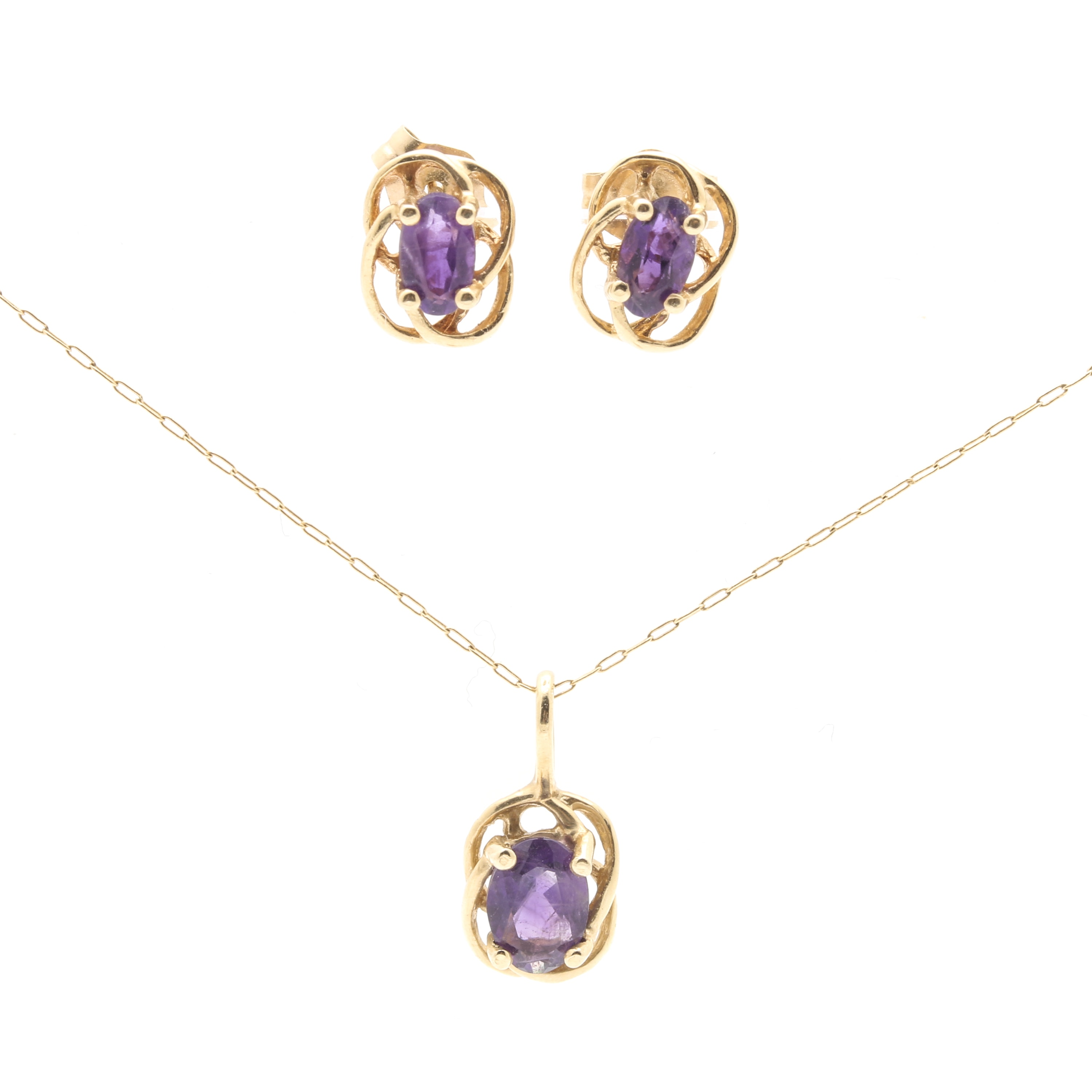 14K Yellow Gold Amethyst Pendant Necklace and Earrings