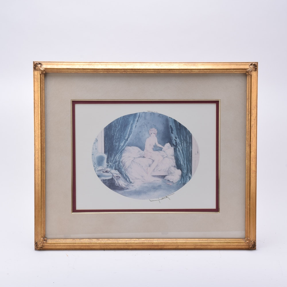 """Offset Lithograph on Paper After Louis Icart """"Blue Alcove"""""""
