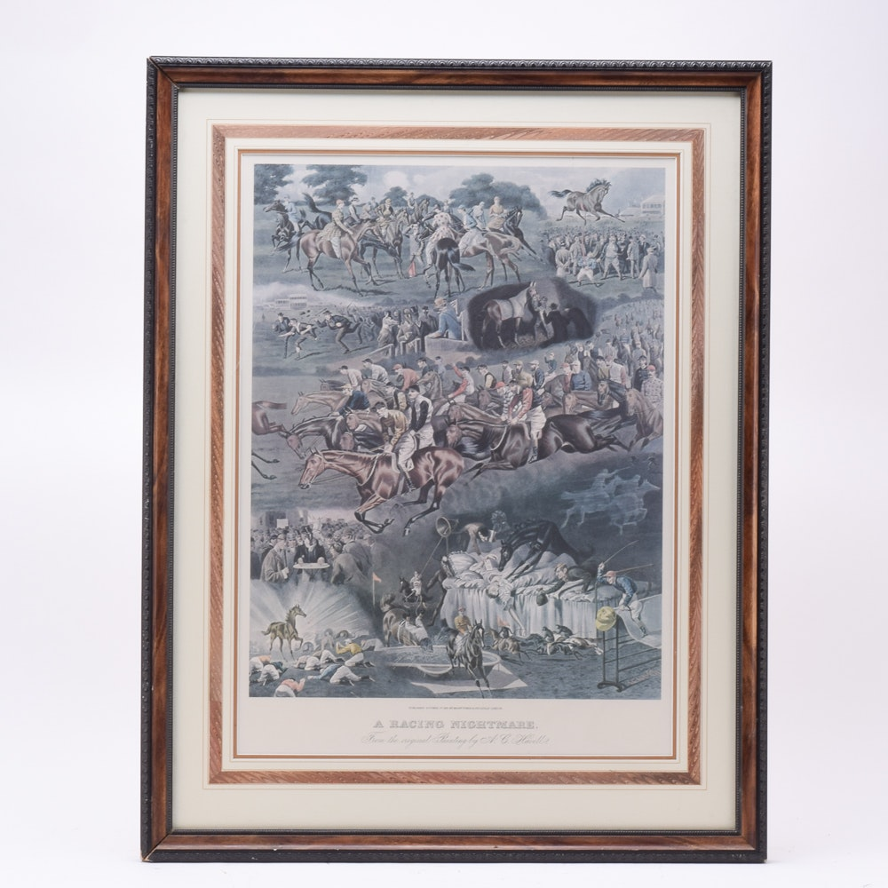 """Offset Lithograph After A.C. Havell """"A Racing Nightmare"""""""