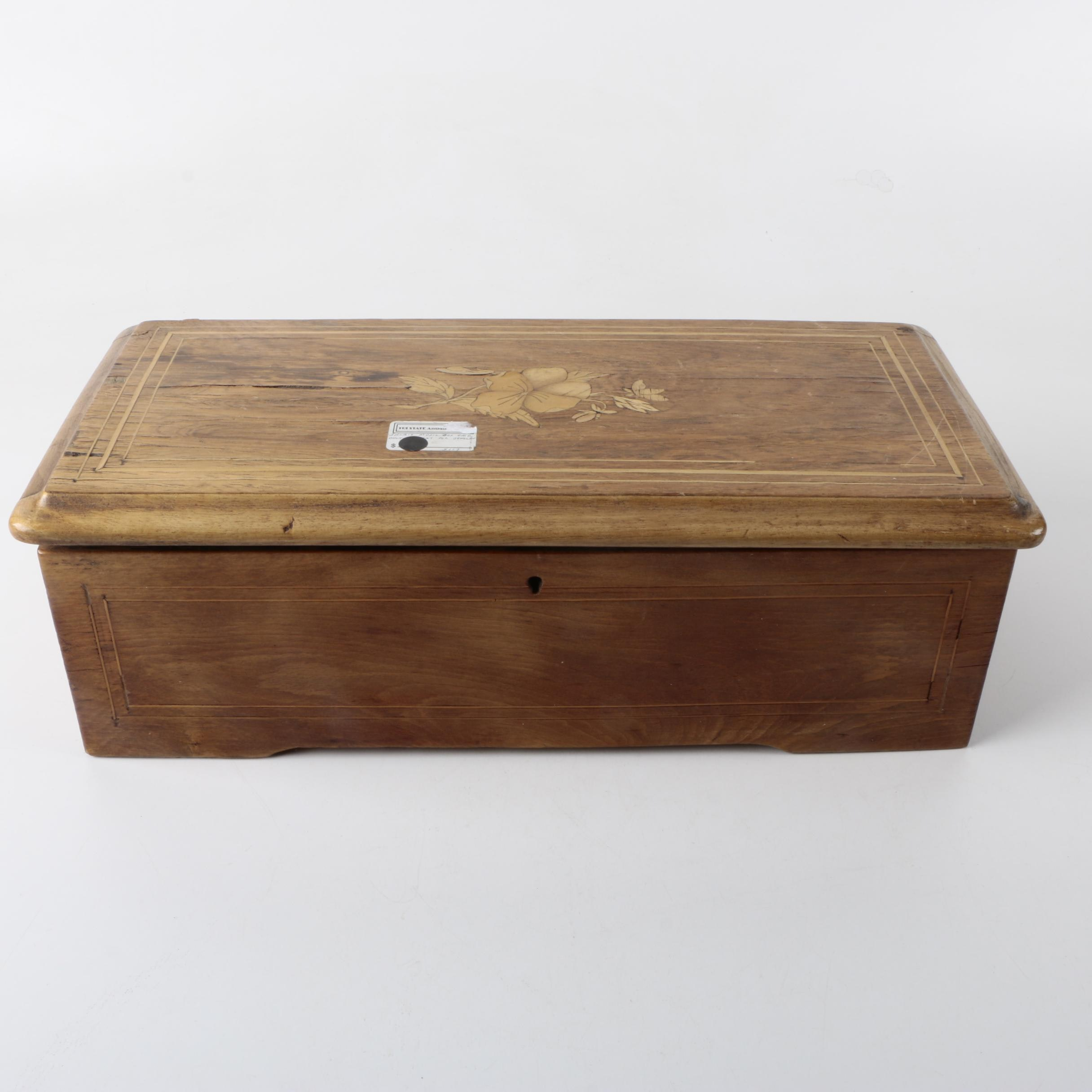 Vintage Wooden Box with Inlaid Floral Motif