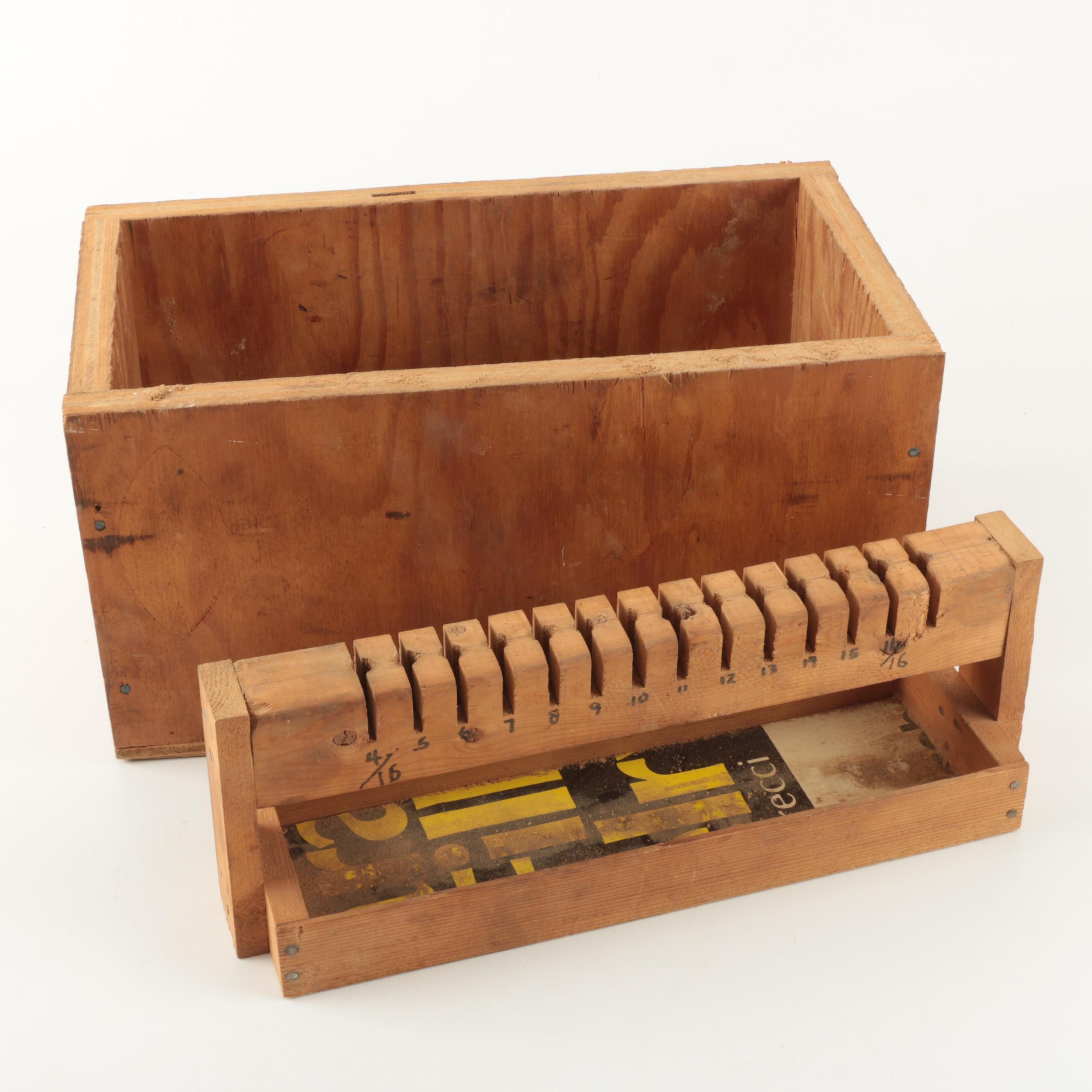 Wooden Tool Box and Assorted Tools
