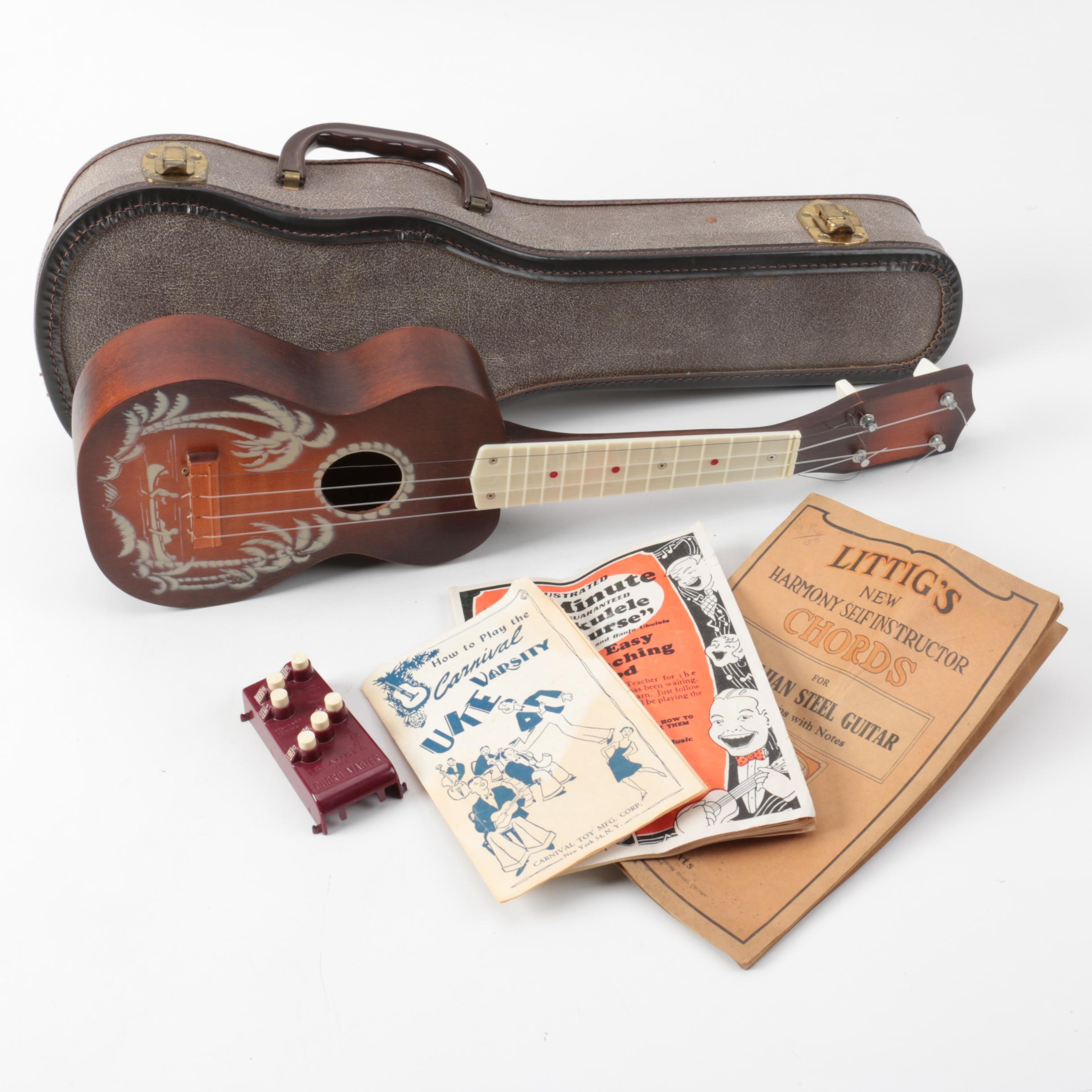 Vintage Ukulele with Case and Accessories