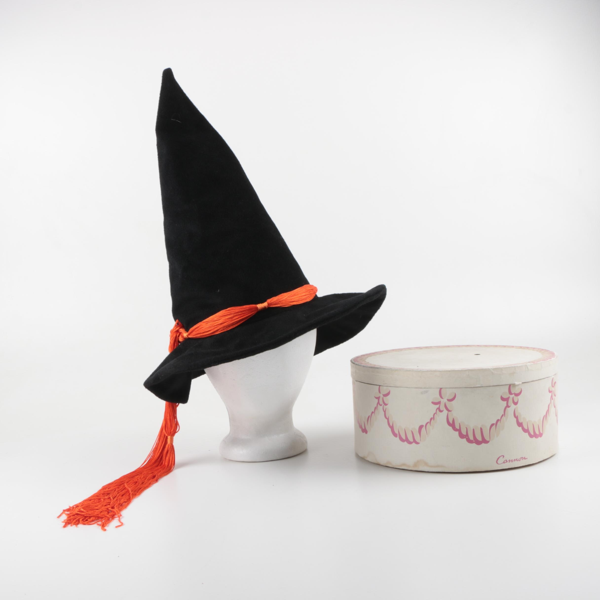 Halloween Black Pointed Witch Hat with Hat Box