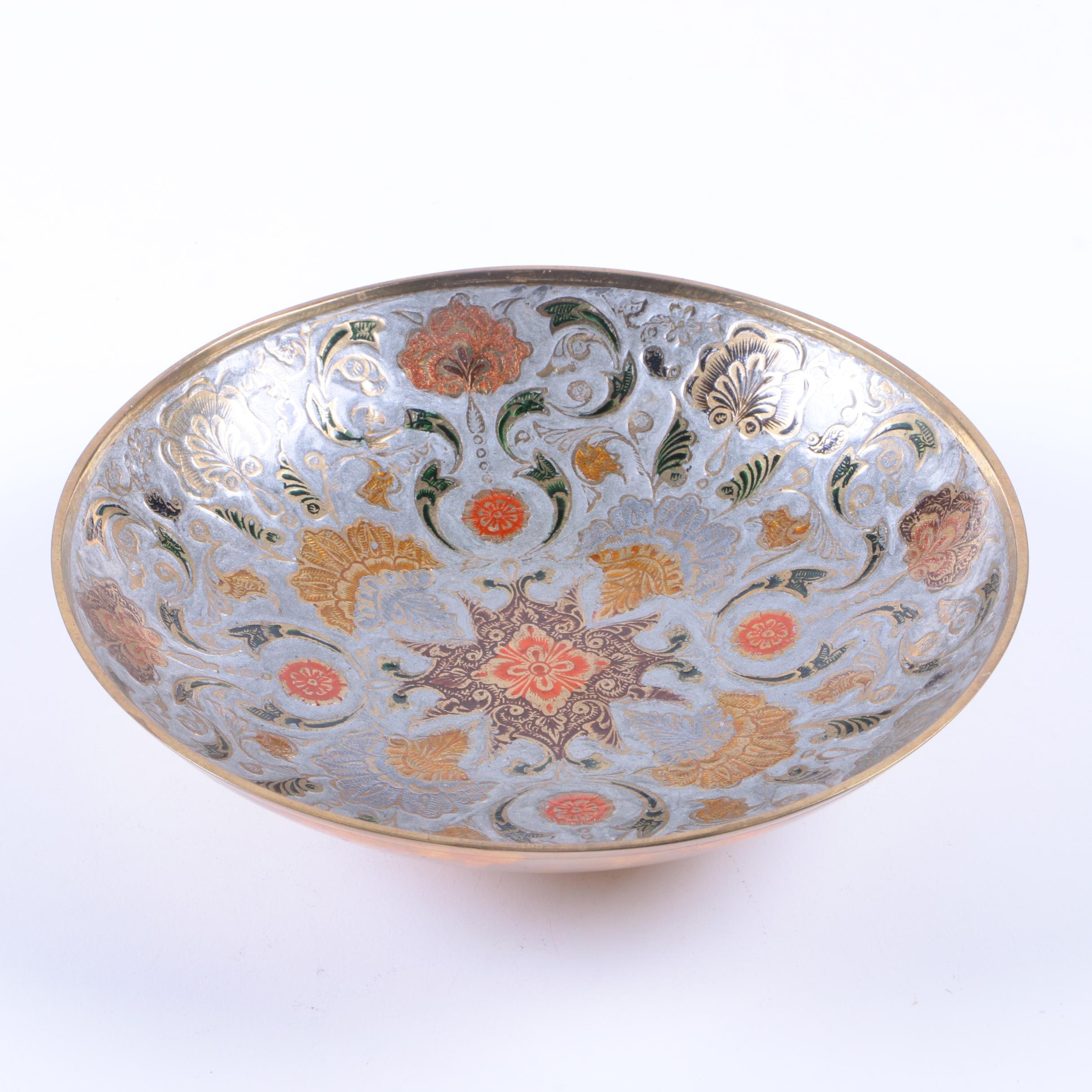 Decorative Enameled Metal Bowl