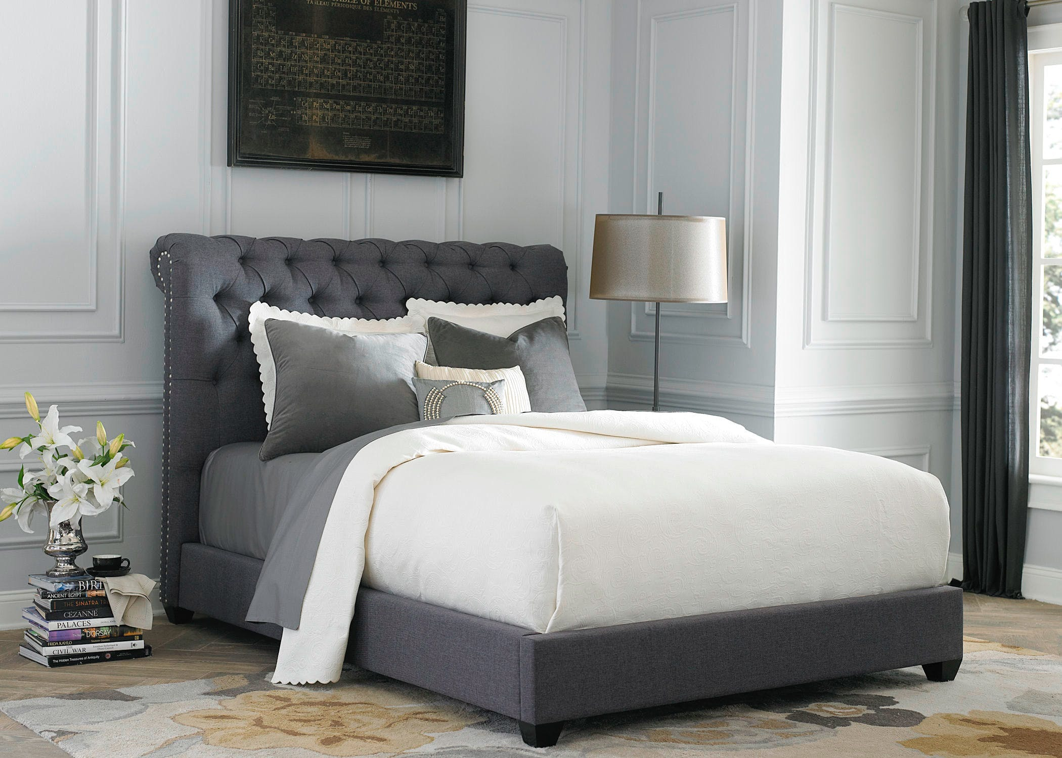 King Size Grey Tufted Headboard