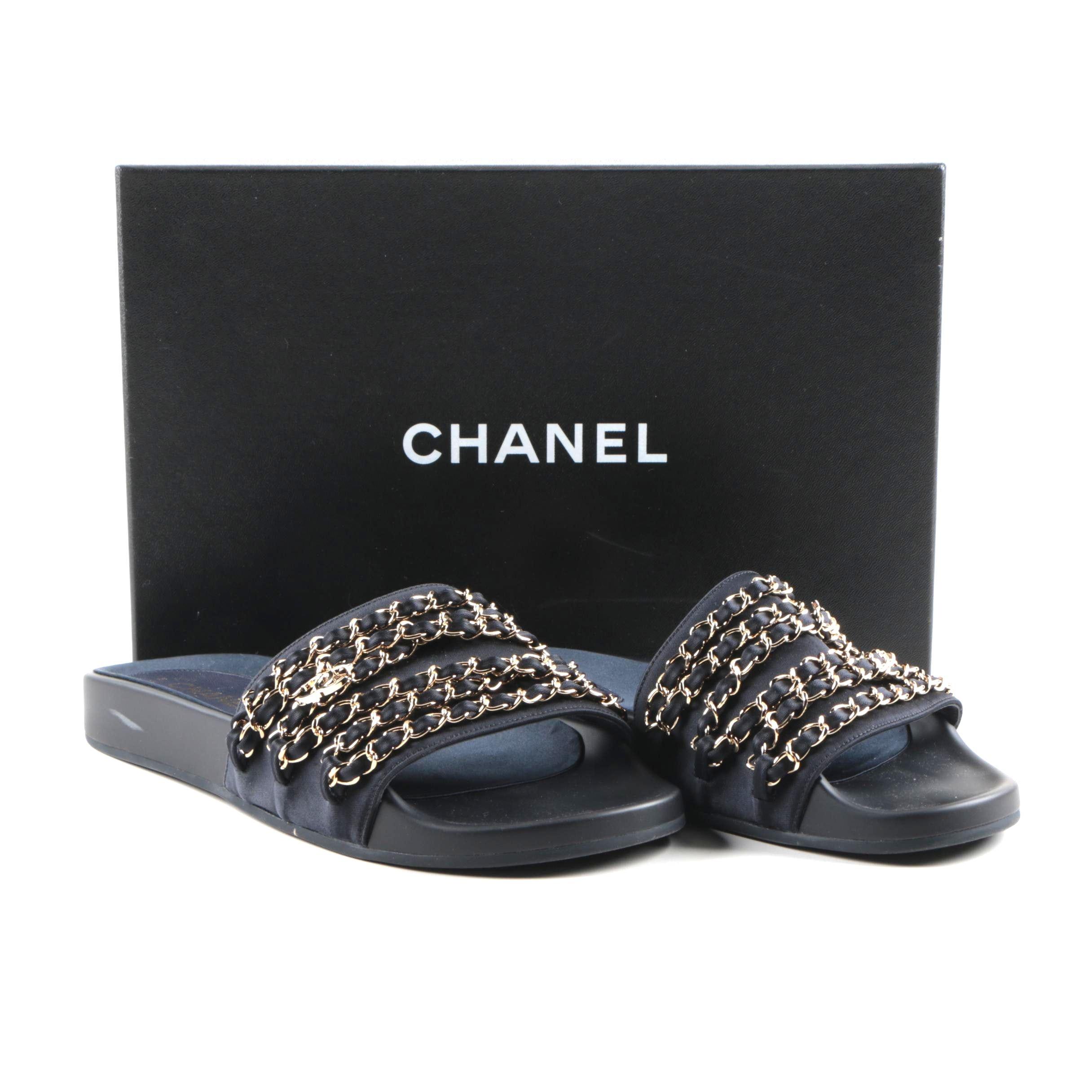 Women's Chanel Marine Blue Slide Sandals