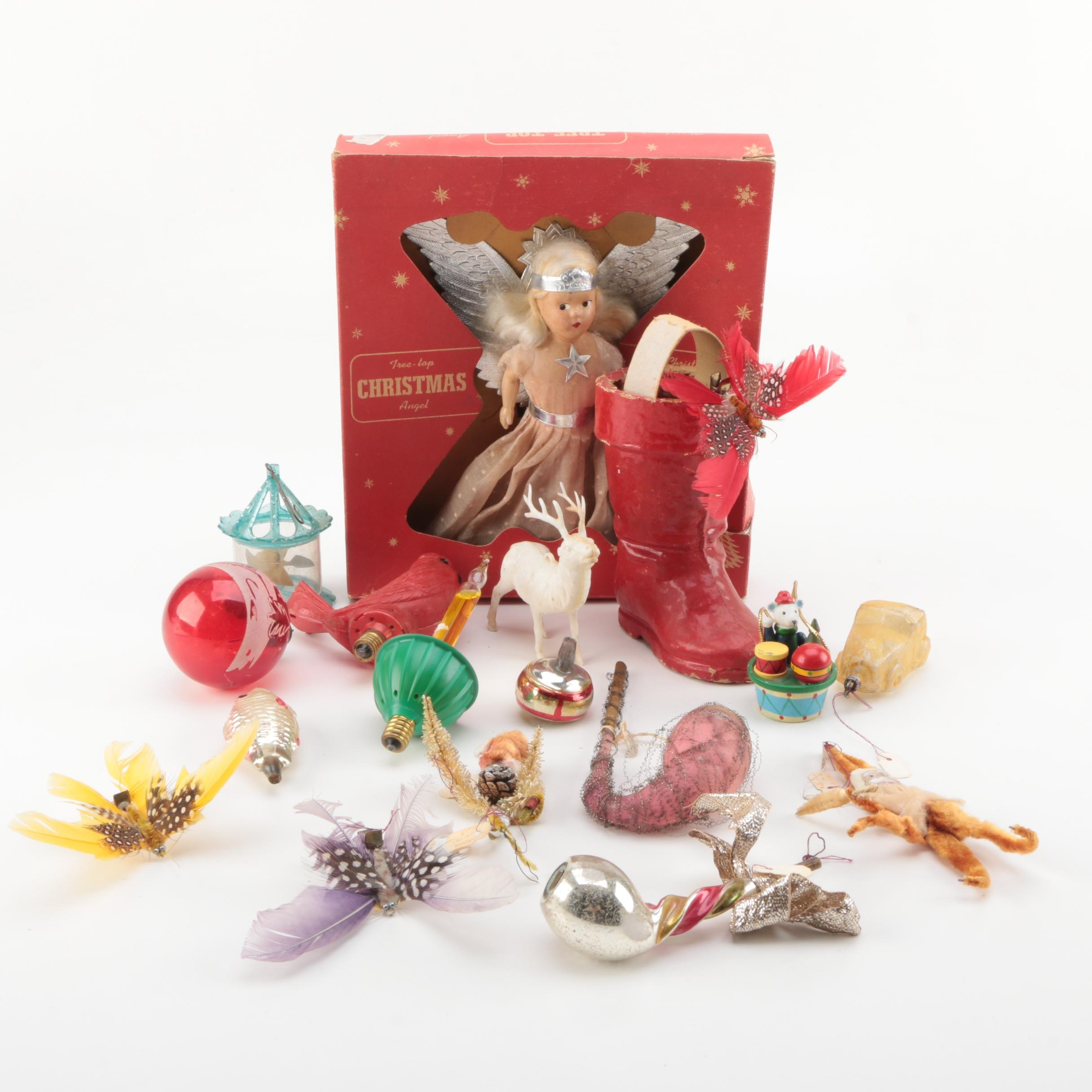 Vintage Christmas Ornaments and Angel Tree Topper