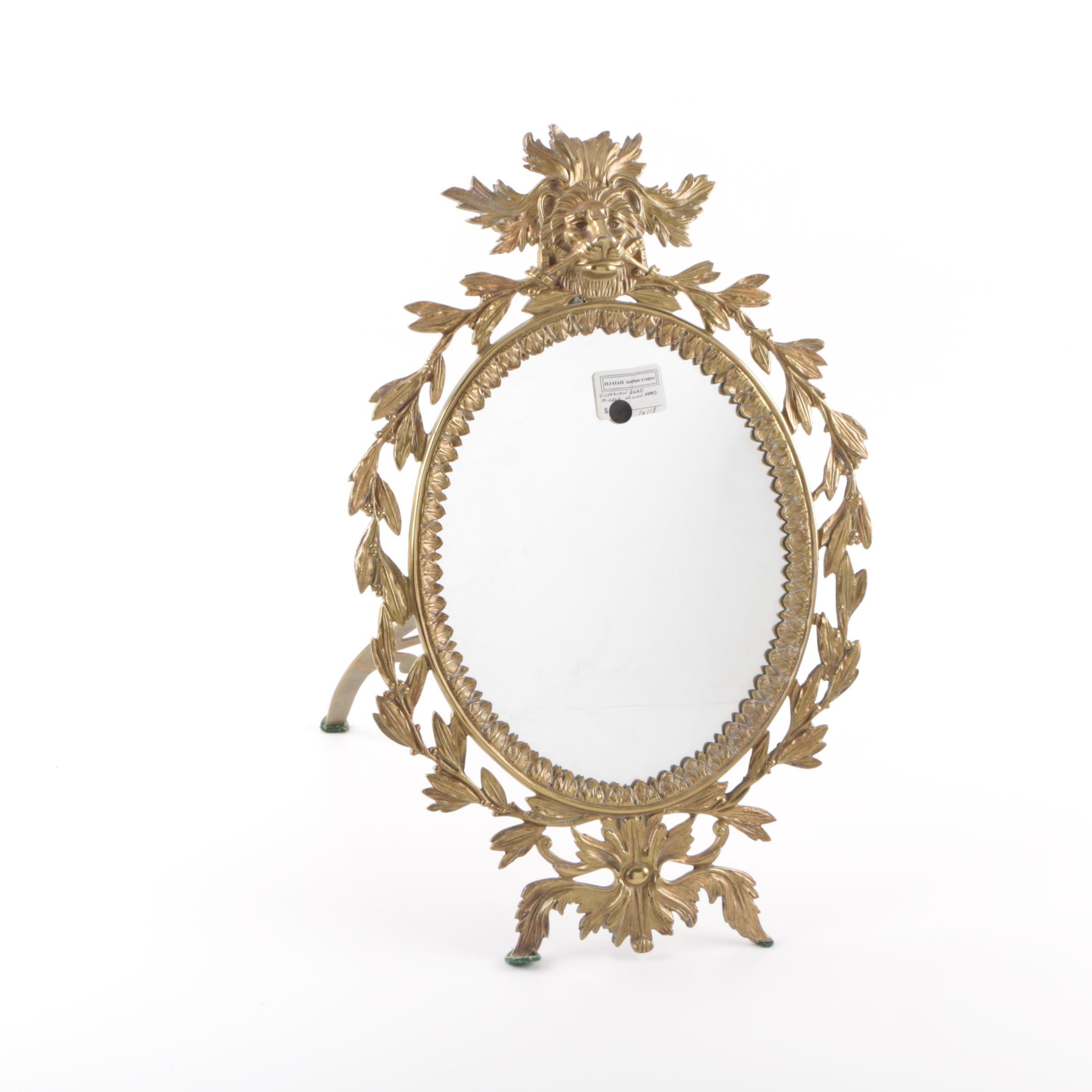 Victorian Style Brass Vanity Mirror with Lion Pediment