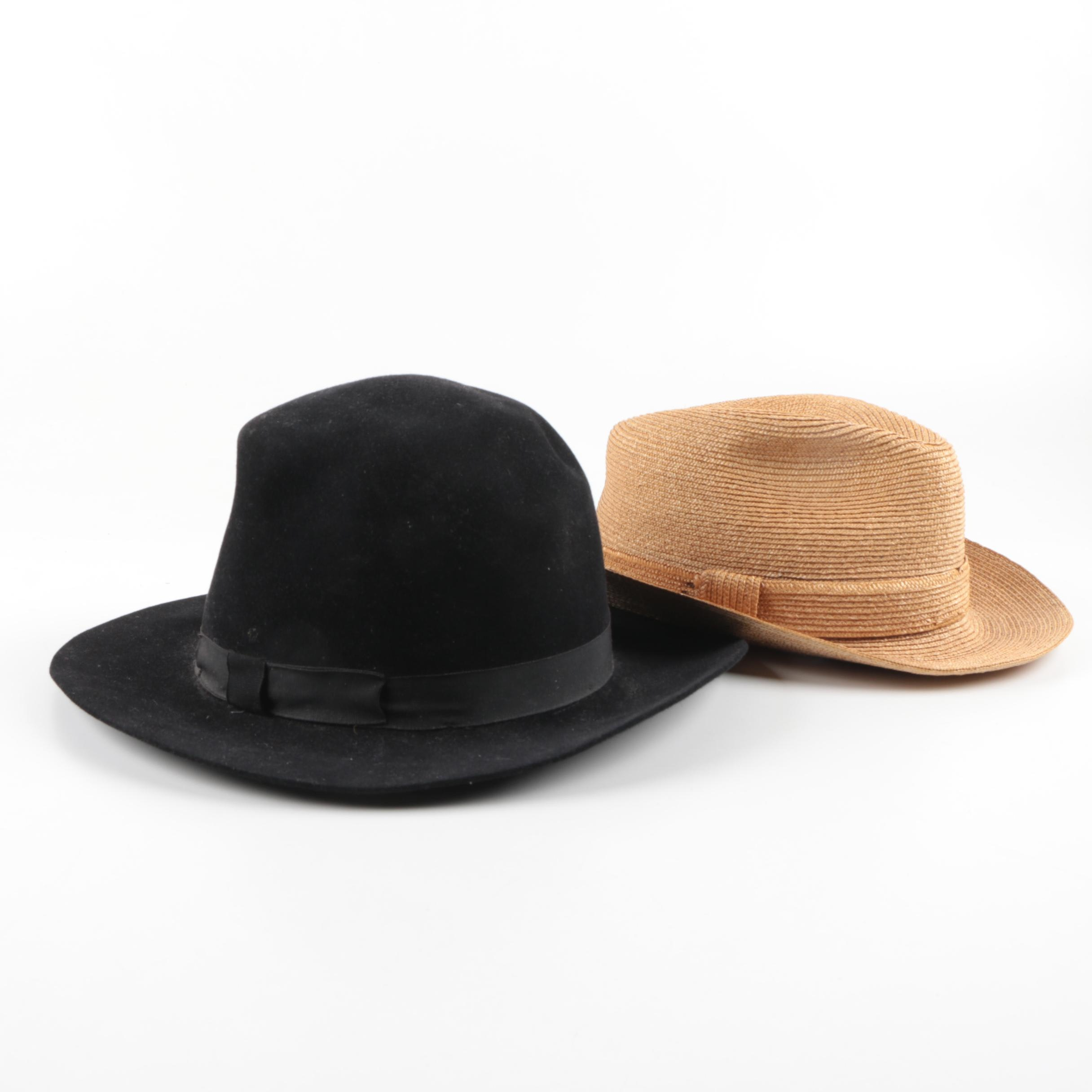 Vintage Woven Straw and Black Felt Hats