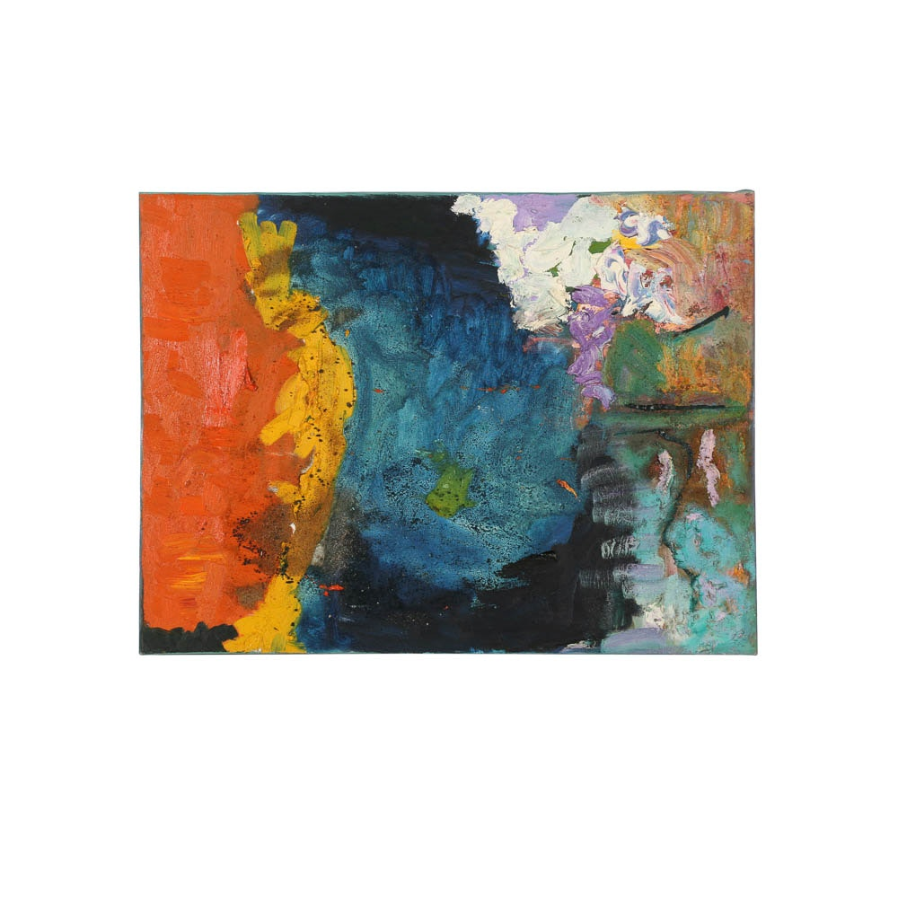 Louis Papp Mixed Media Painting on Canvas of an Abstract Scene