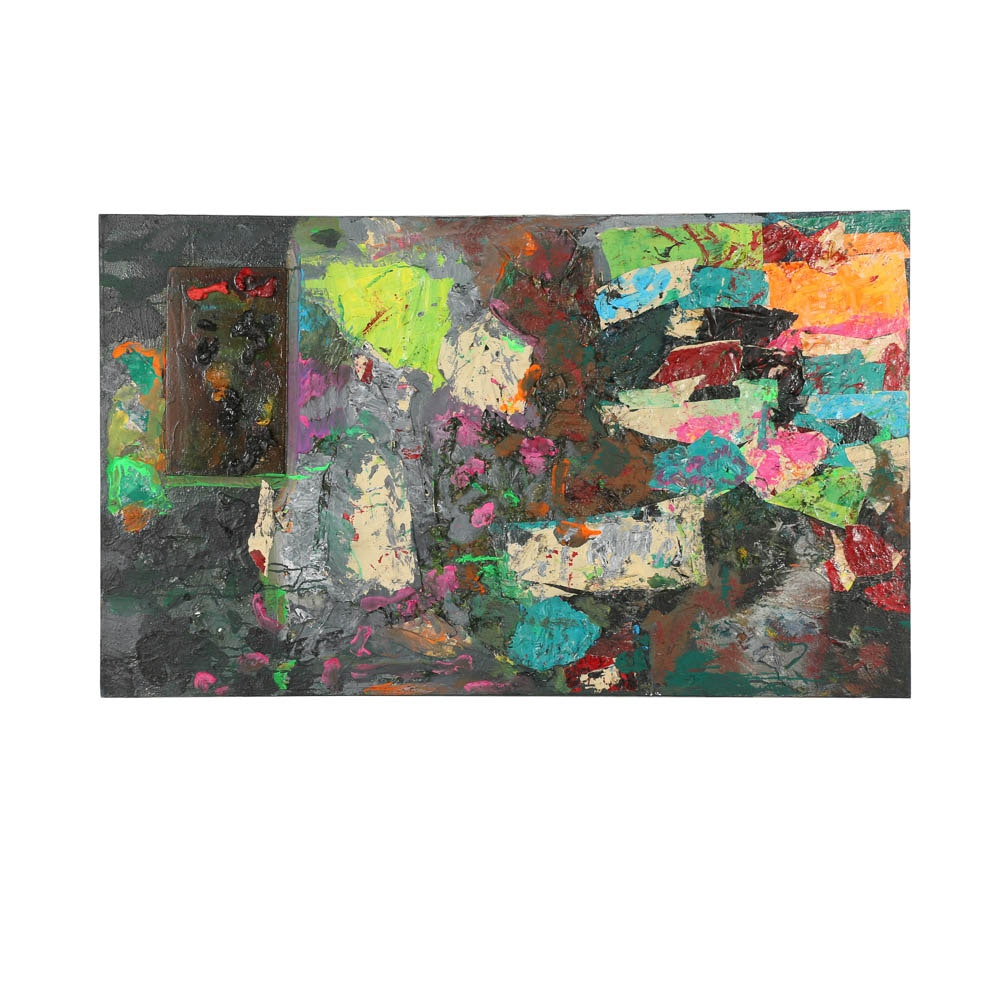 Louis Papp Mixed Media Painting on Canvas of Abstract Scene