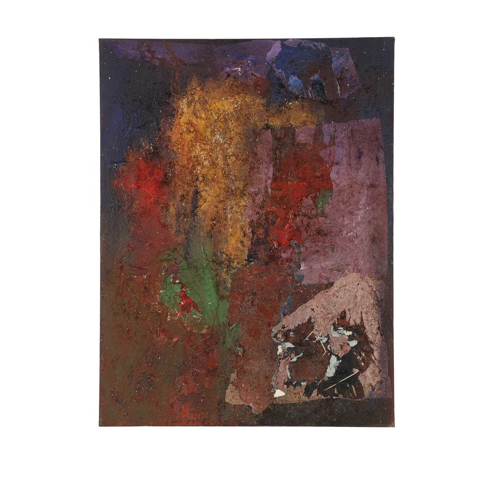 Louis Papp Mixed Media Painting on Canvas of Abstract Composition