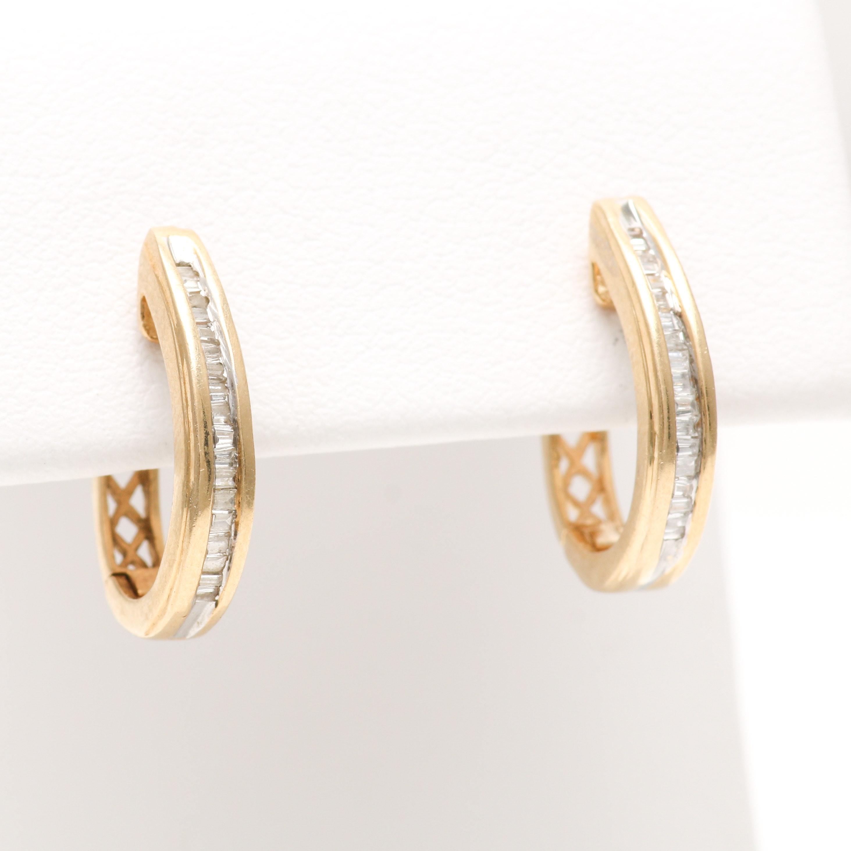 14K Yellow Gold Diamond Channel Set Earrings