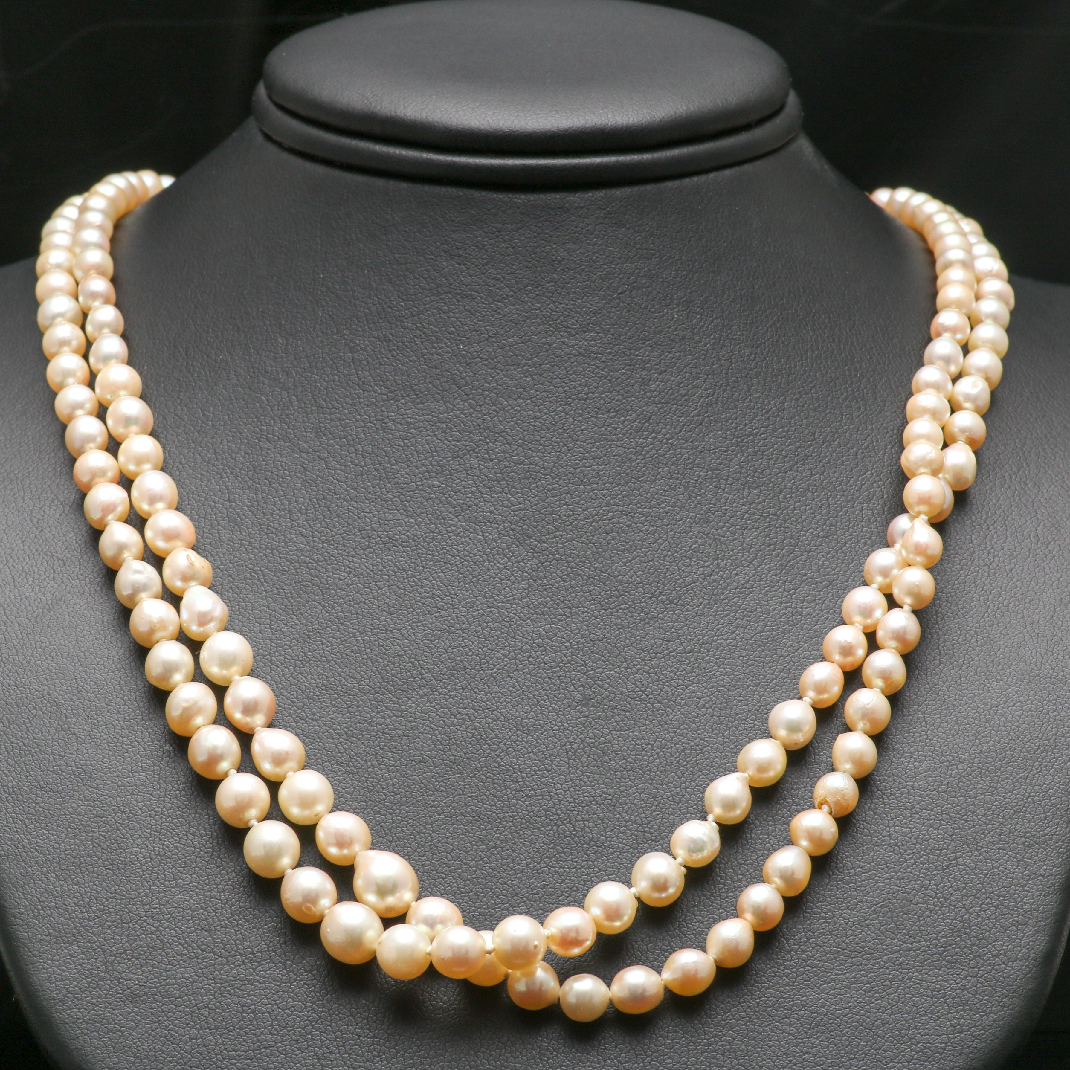14K White Gold Cultured Pearl Double Strand Necklace