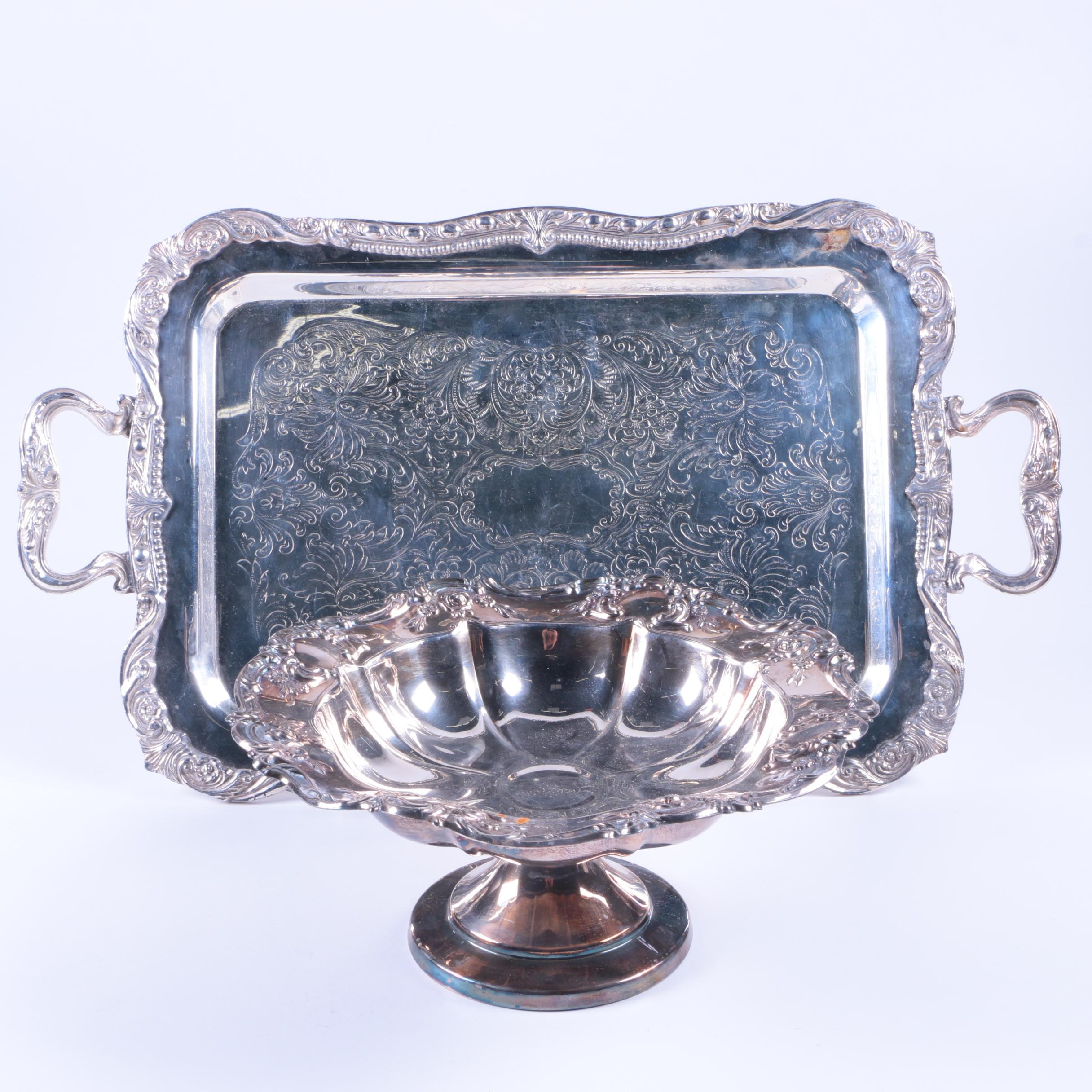 """Towle """"Old Master"""" Silver Plate Compote with Sheridan Serving Tray"""
