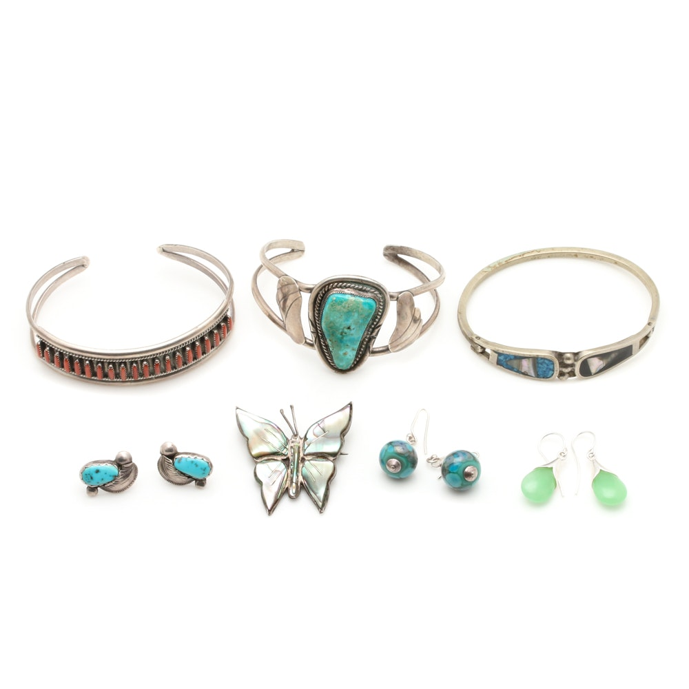 Sterling Silver Jewelry Including Mexican Silver and Abalone