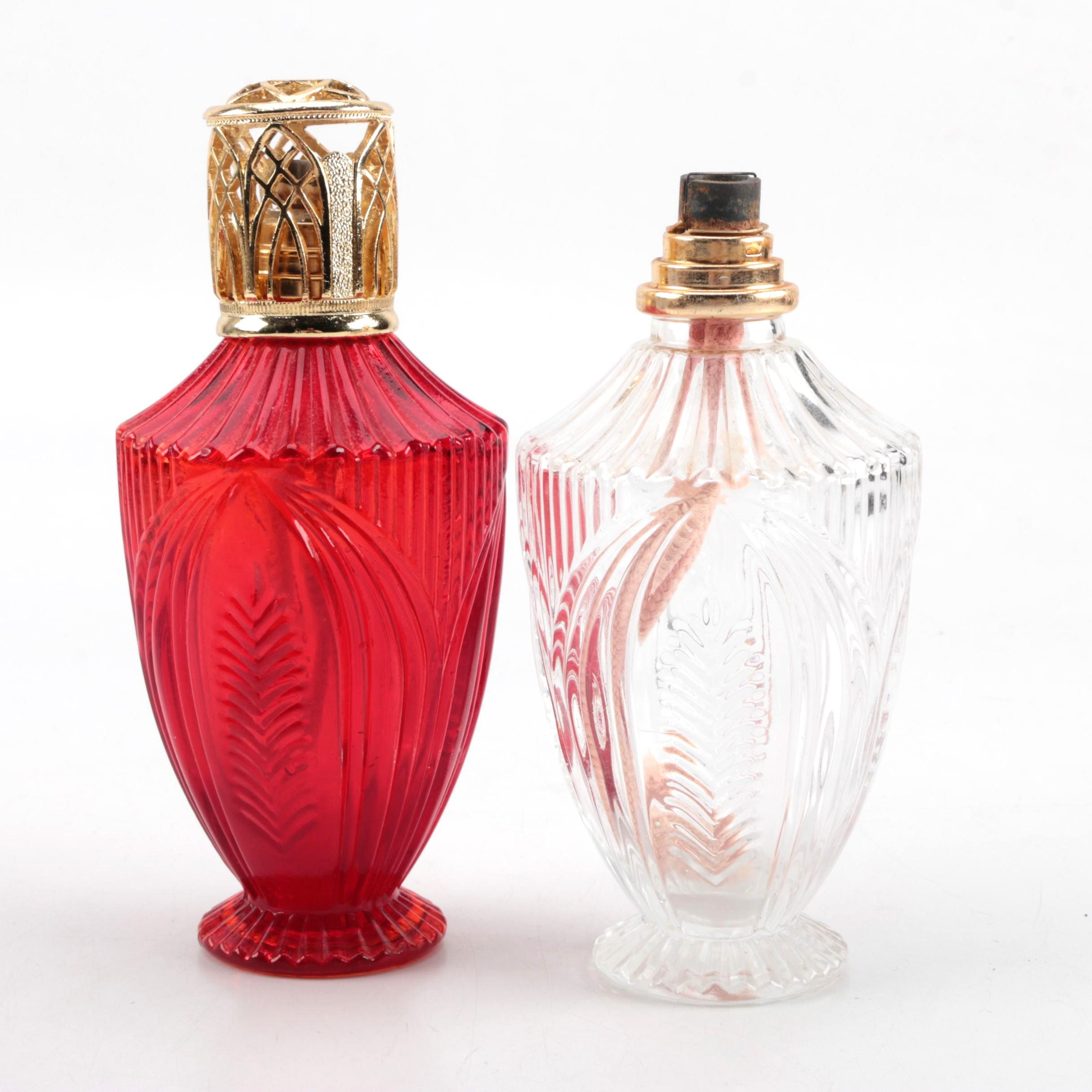 Pair of Pressed Glass Perfume Atomizers