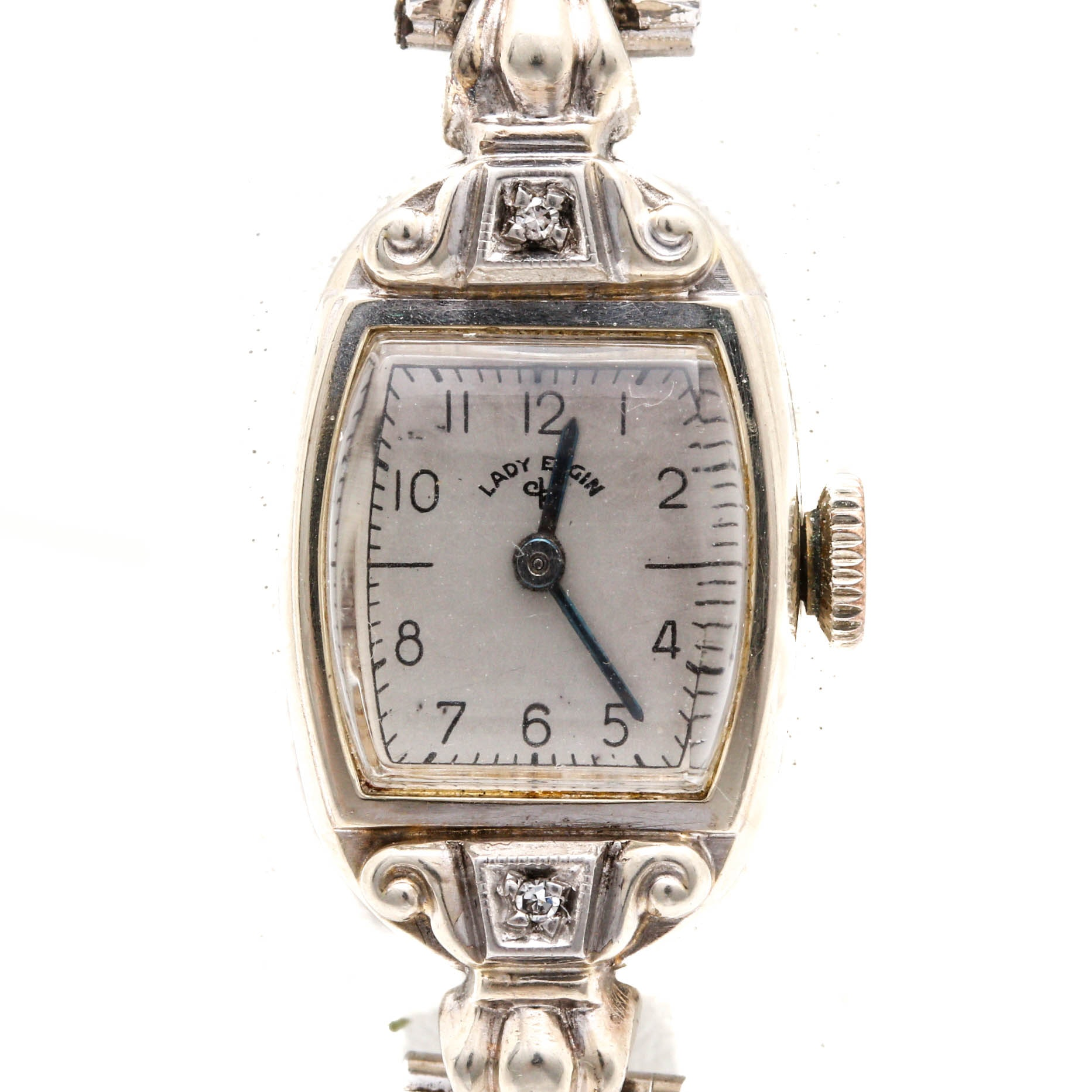 Lady Elgin 14K White Gold Diamond Wristwatch