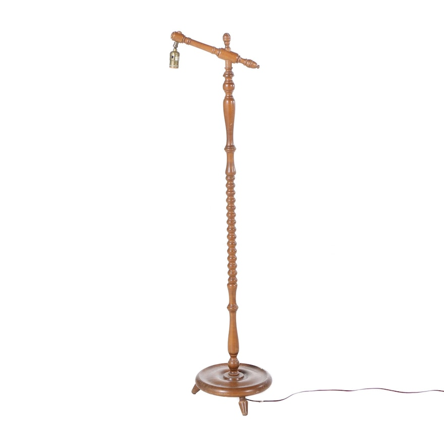 Colonial revival style turned wood floor lamp ebth colonial revival style turned wood floor lamp aloadofball Images