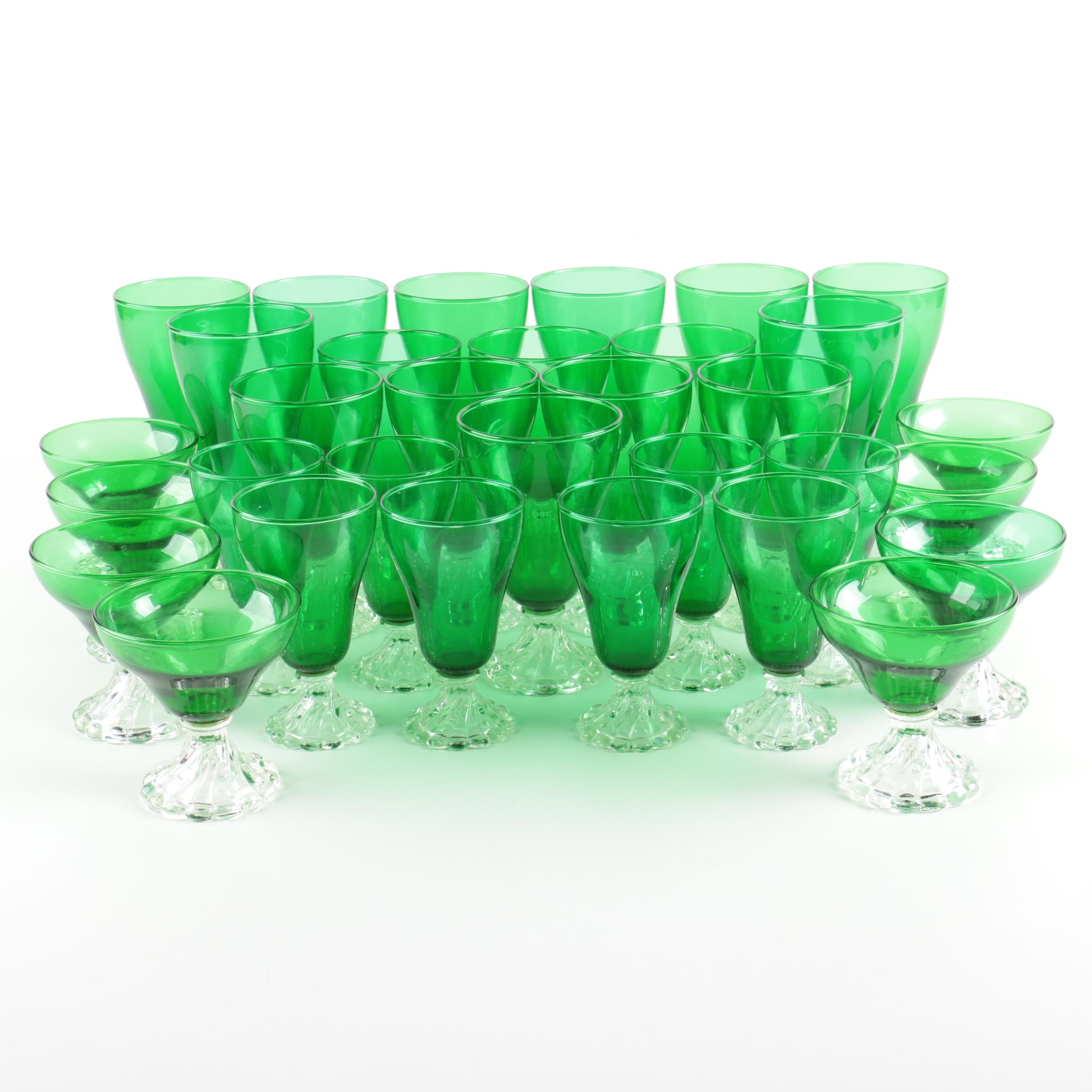 "Vintage Anchor Hocking ""Burple Green"" Stemware"
